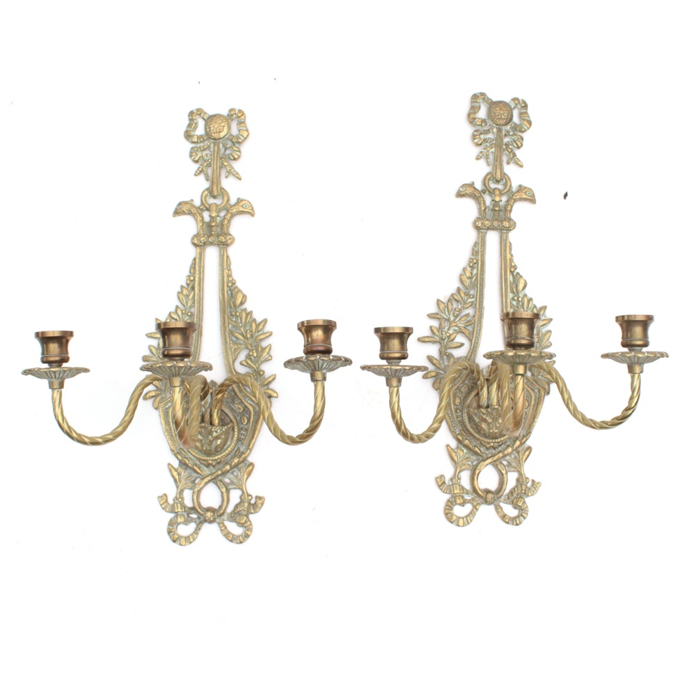 Brass French Style Candle Sconces
