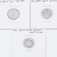 1875-CC Seated Liberty Dime and Two Seated Liberty Half Dimes