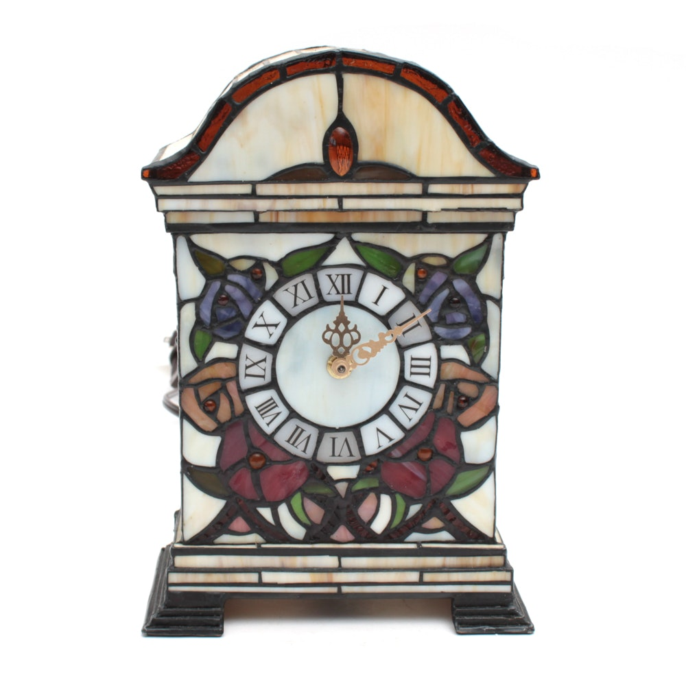 Slag Glass Mantel Clock