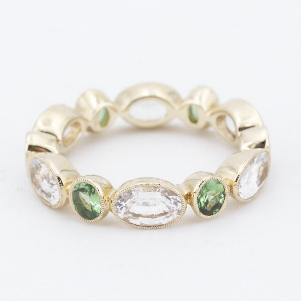18K Yellow Gold Ring with White Sapphire and Tsavorite