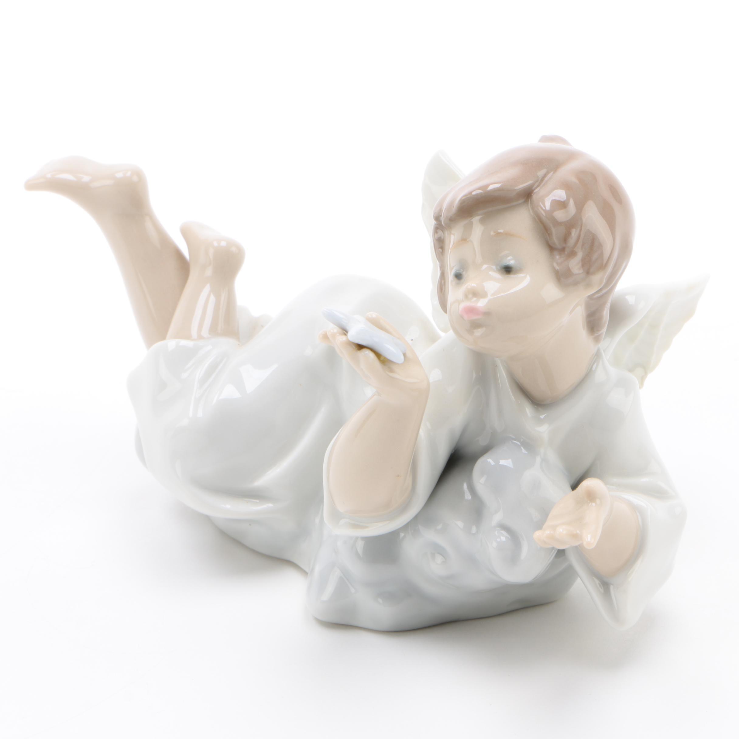 "Lladró ""Making a Wish"" Porcelain Angel Figurine, 1989"