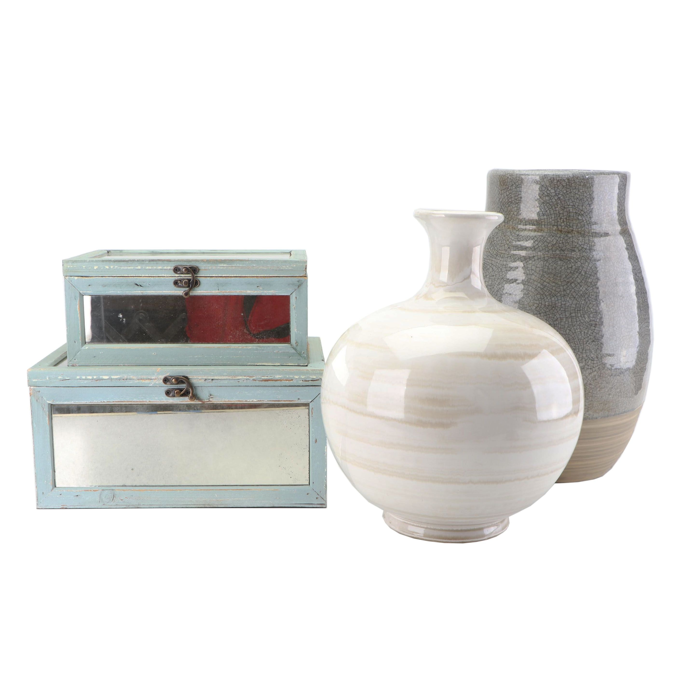 Contemporary Mirrored Storage Boxes with Ceramic Vases