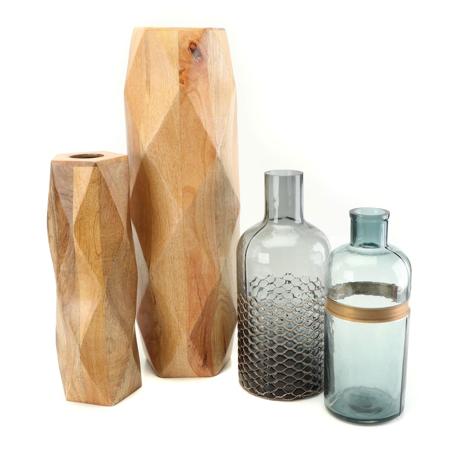 Wooden and Glass Vases
