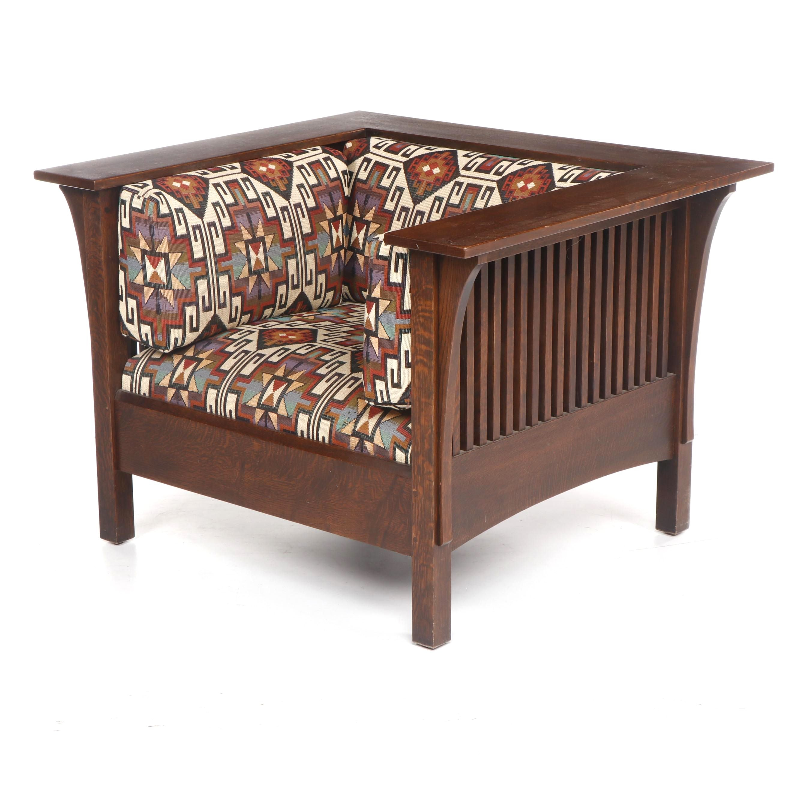 Stickley Contemporary Arts and Crafts Oak Overstuffed Club Chair