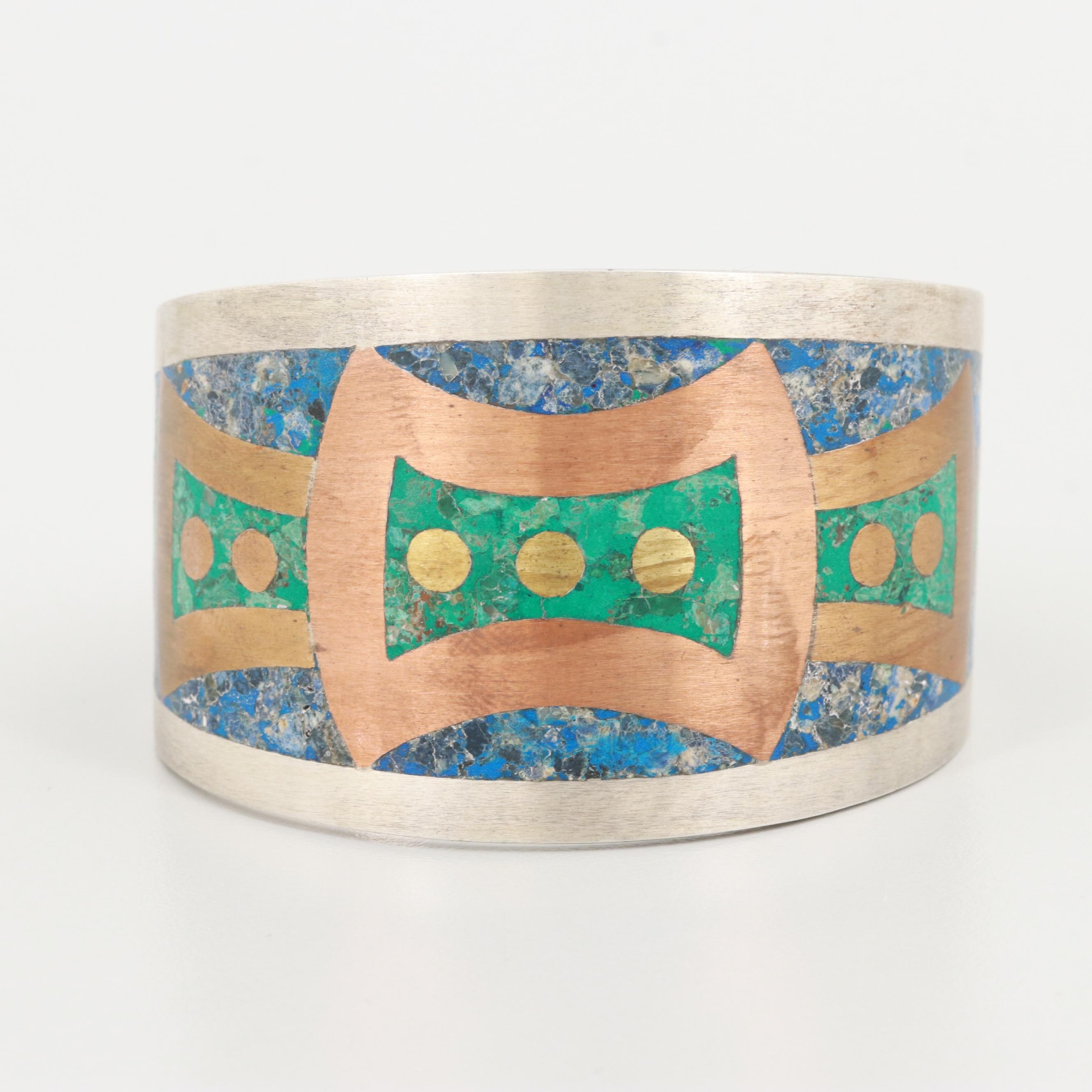Taxco Sterling Gemstone Inlay Cuff Bracelet with Copper and Gold Tone Accents