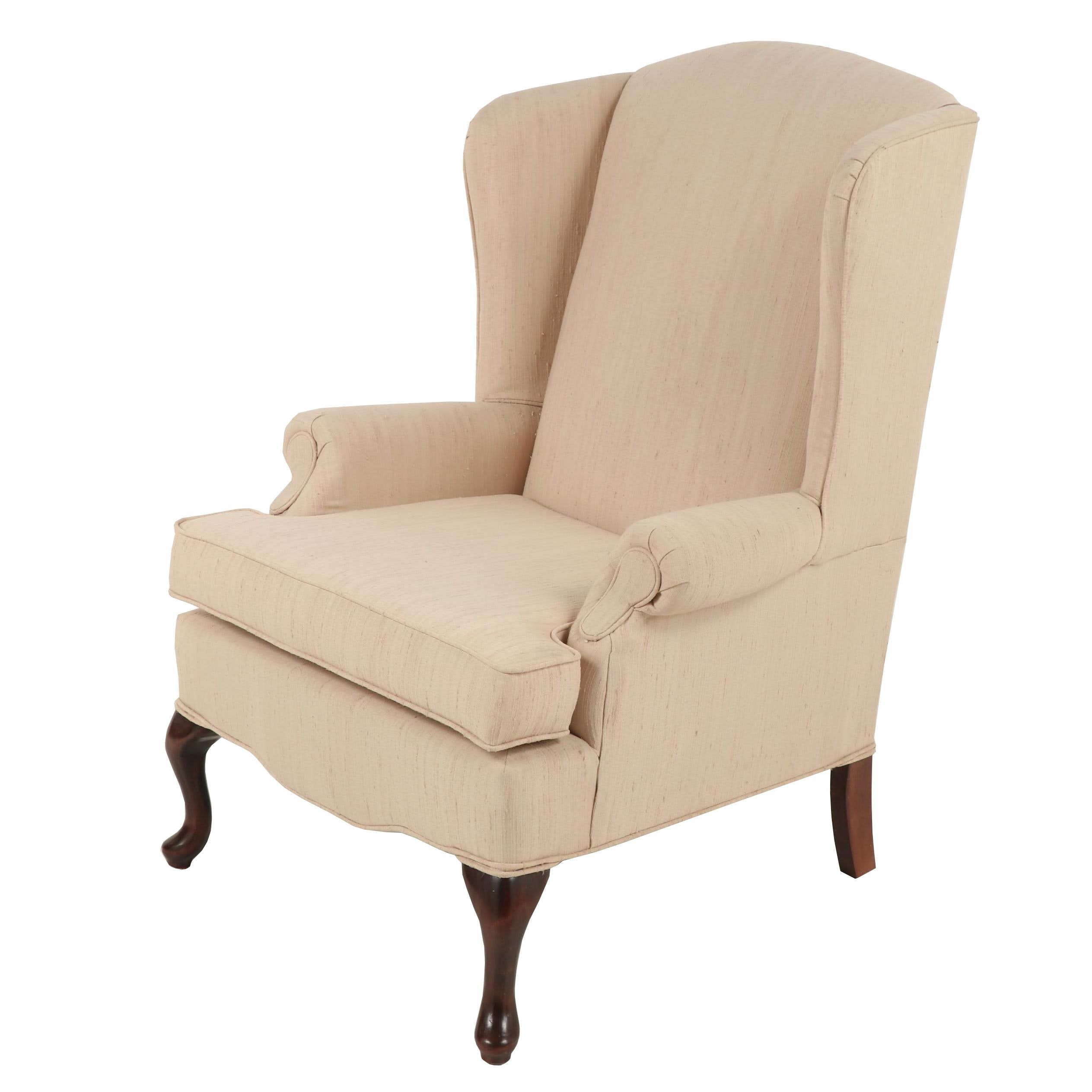 Queen Anne Style Best Chair Company Upholstered Wingback Chair, Late 20th C.
