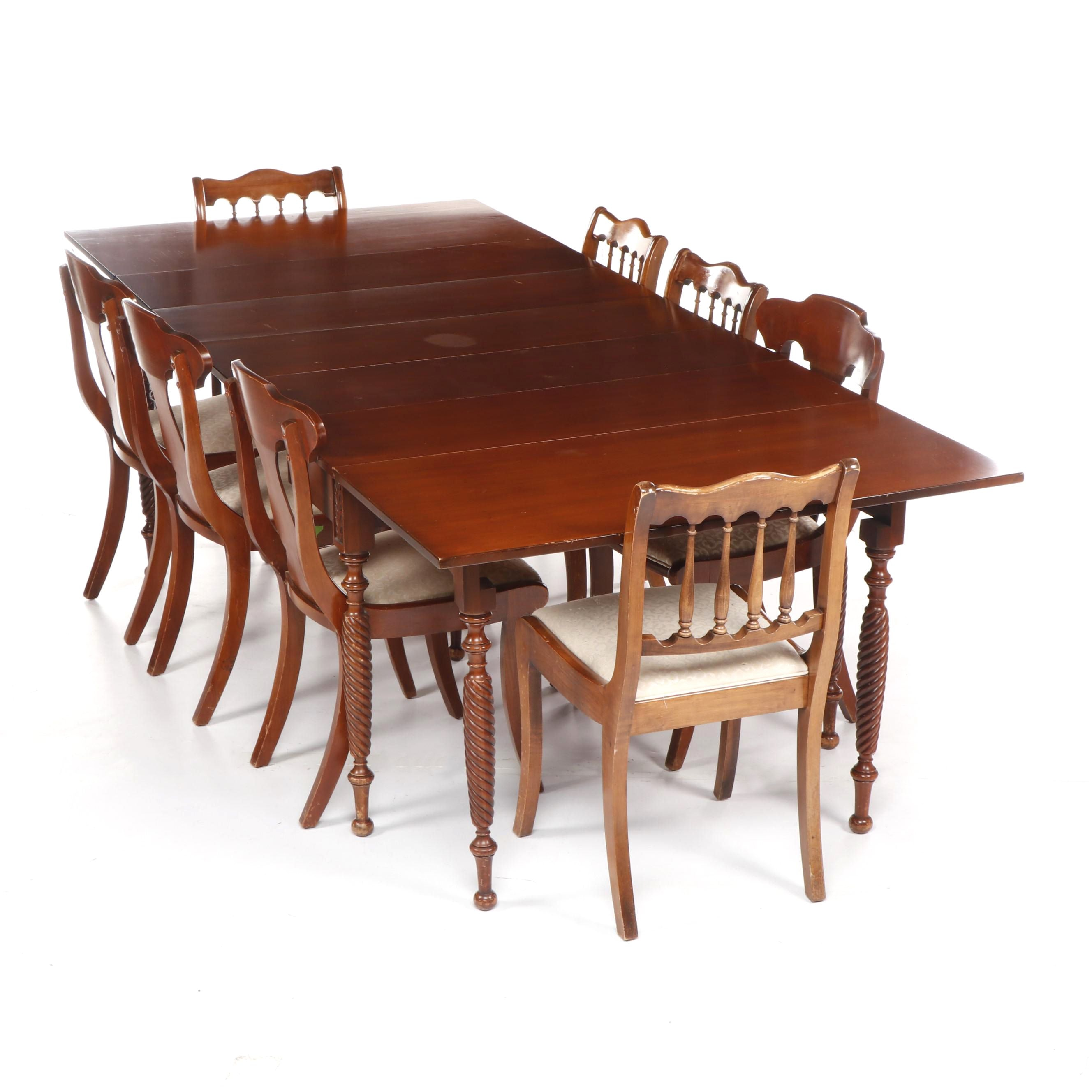 Late Federal Style Cherry-Finish Drop Leaf Dining Table with Eight Side Chairs