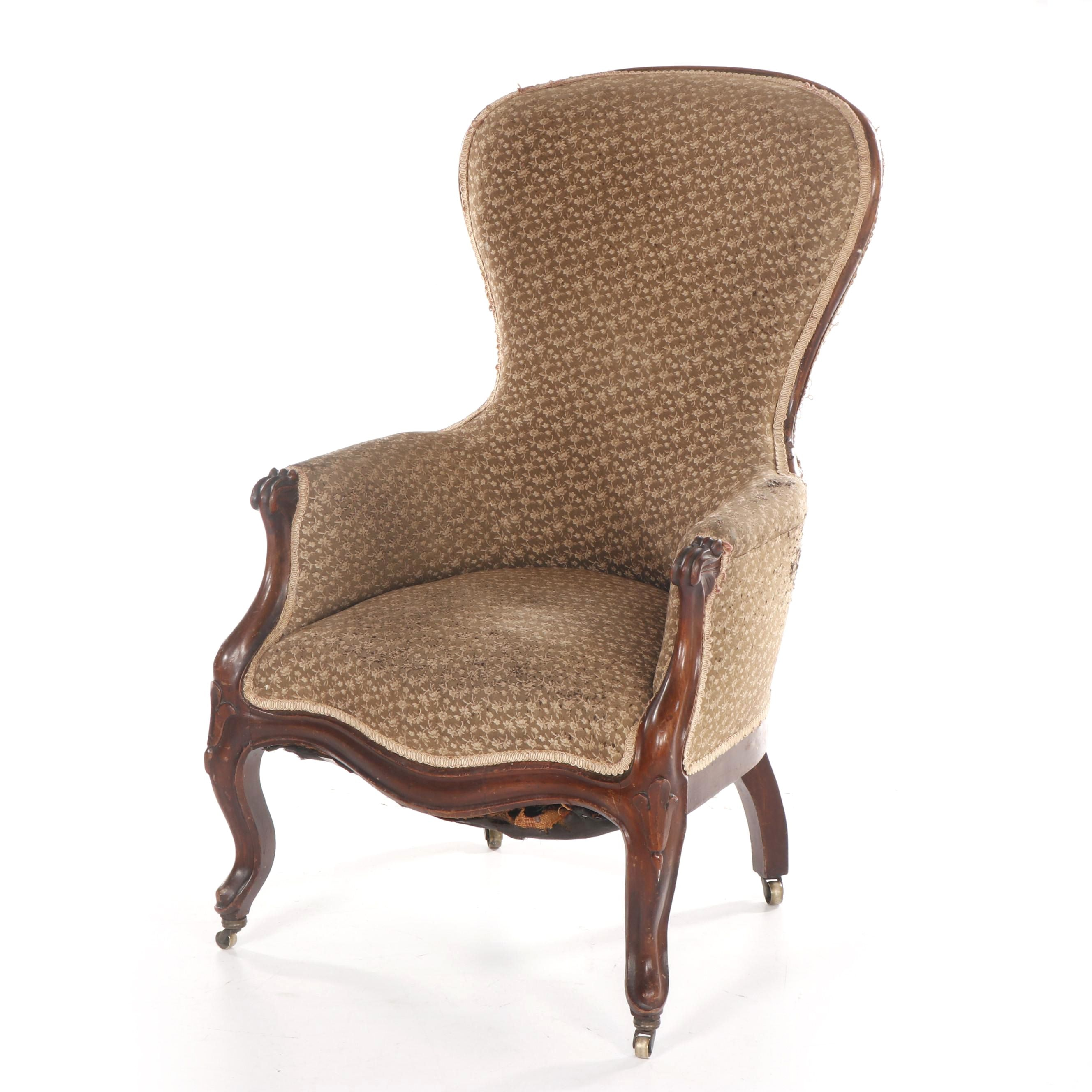 French Provincial Mahogany Upholstered Armchair