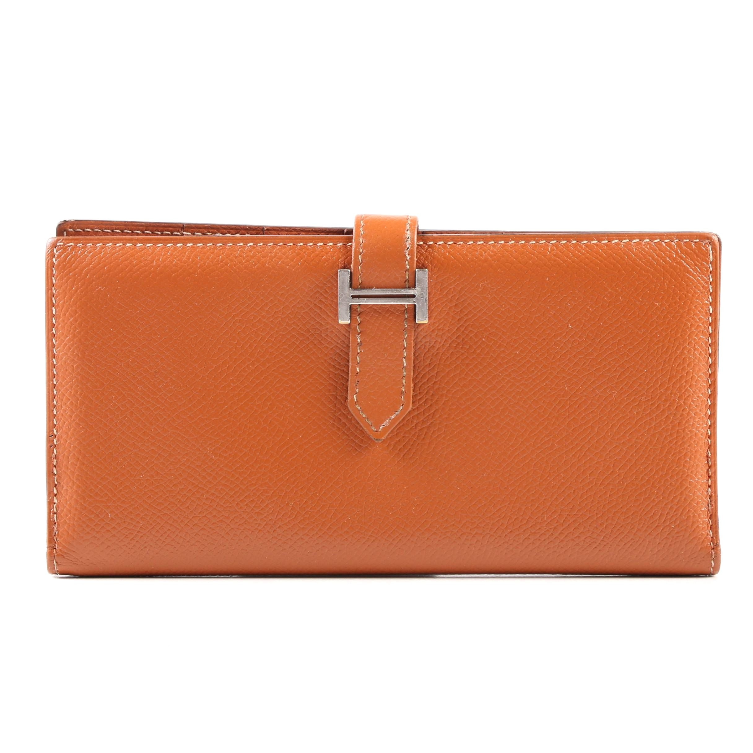 Hermès Bearn Wallet in Cuivre Epsom Calf Leather with Palladium Plating