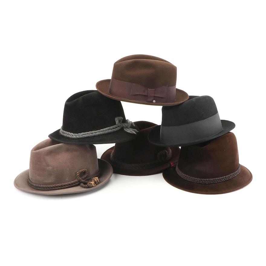 fb0db9dec Men's Felt Trilby and Fedora Hats Including Anton Peschel, Vintage