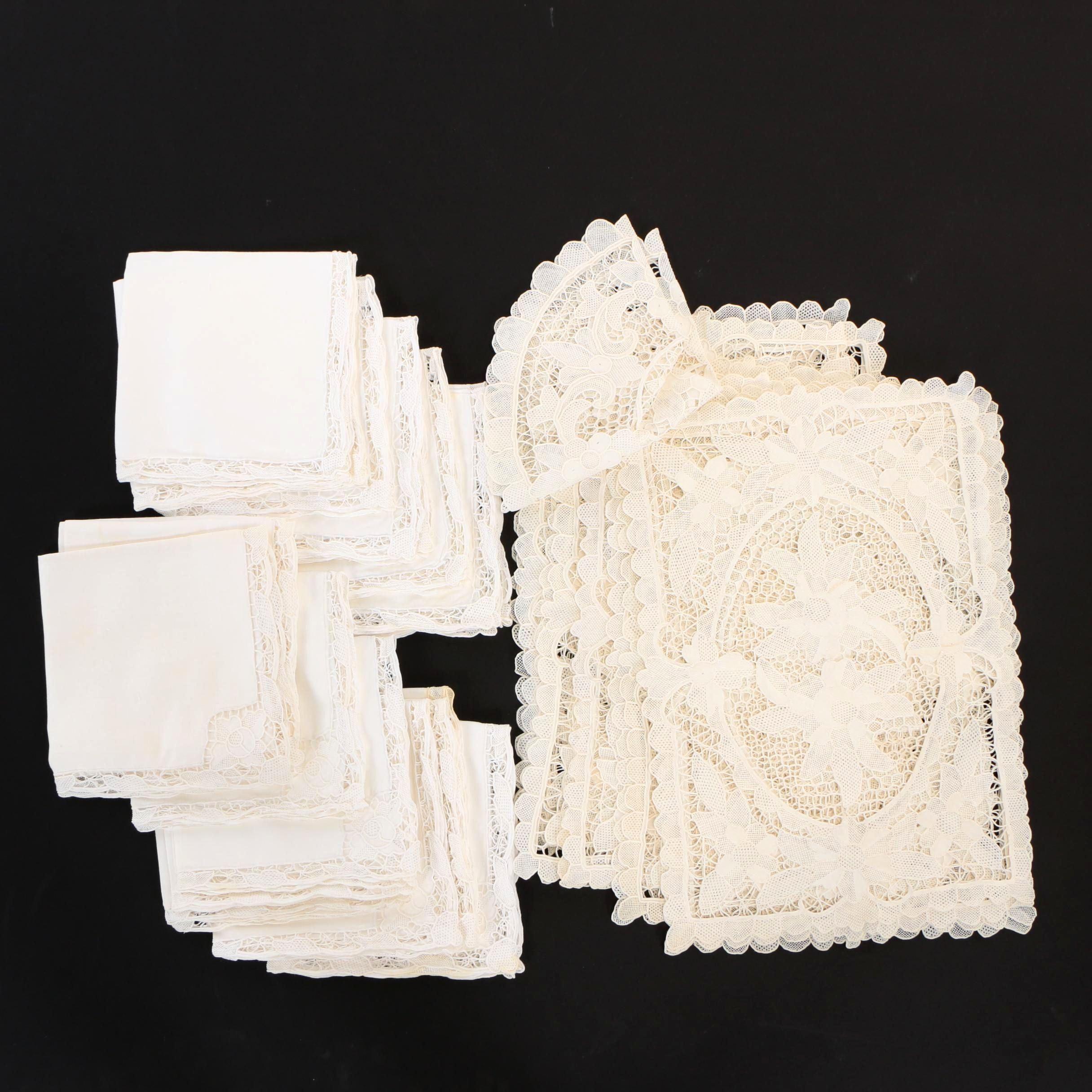 Needle Lace Embroidered Placemats and Napkins, Vintage