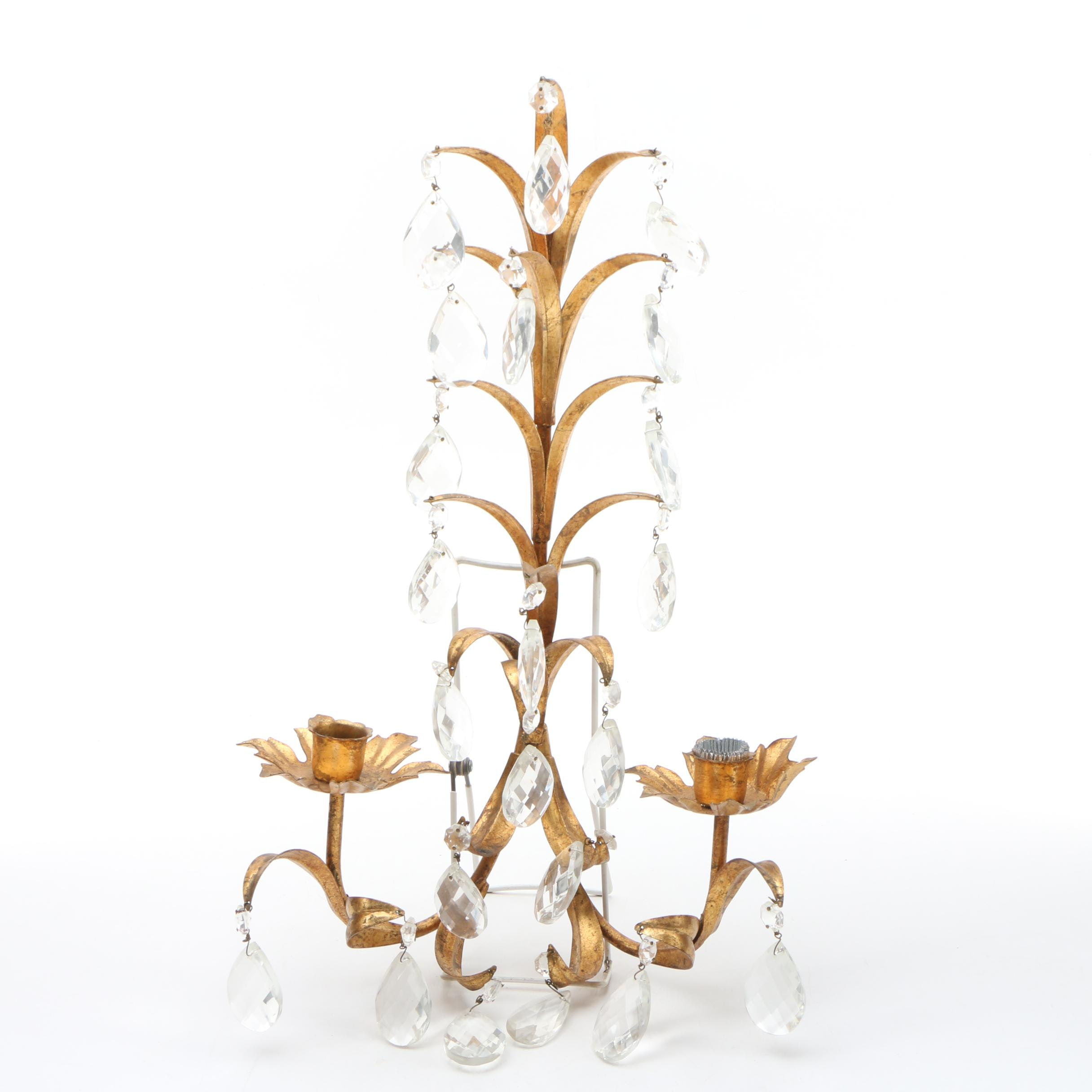 Tole Candle Sconce with Glass Drops, Mid to Late 20th Century