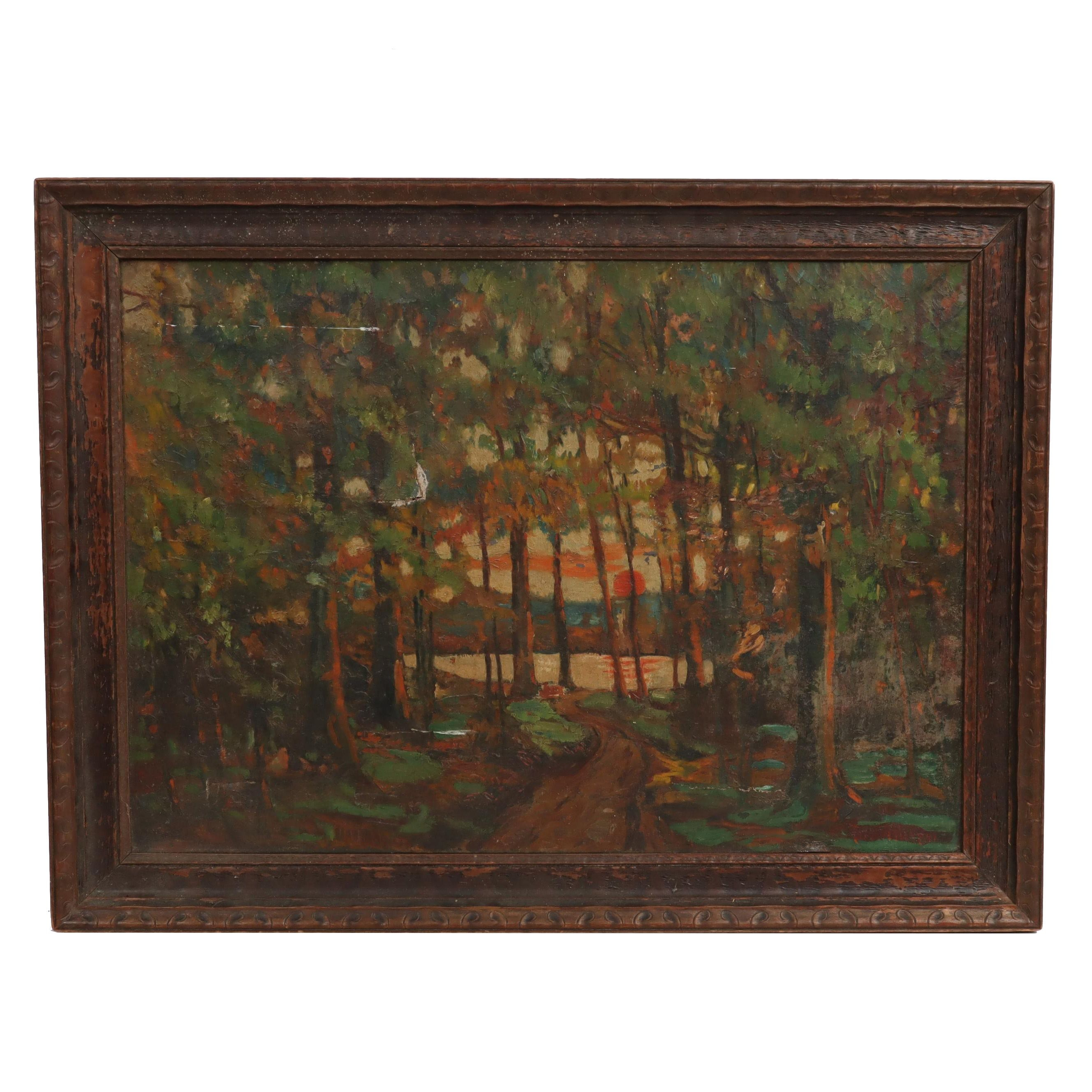 A. Harper Forest Landscape Oil Painting, Late 19th Century