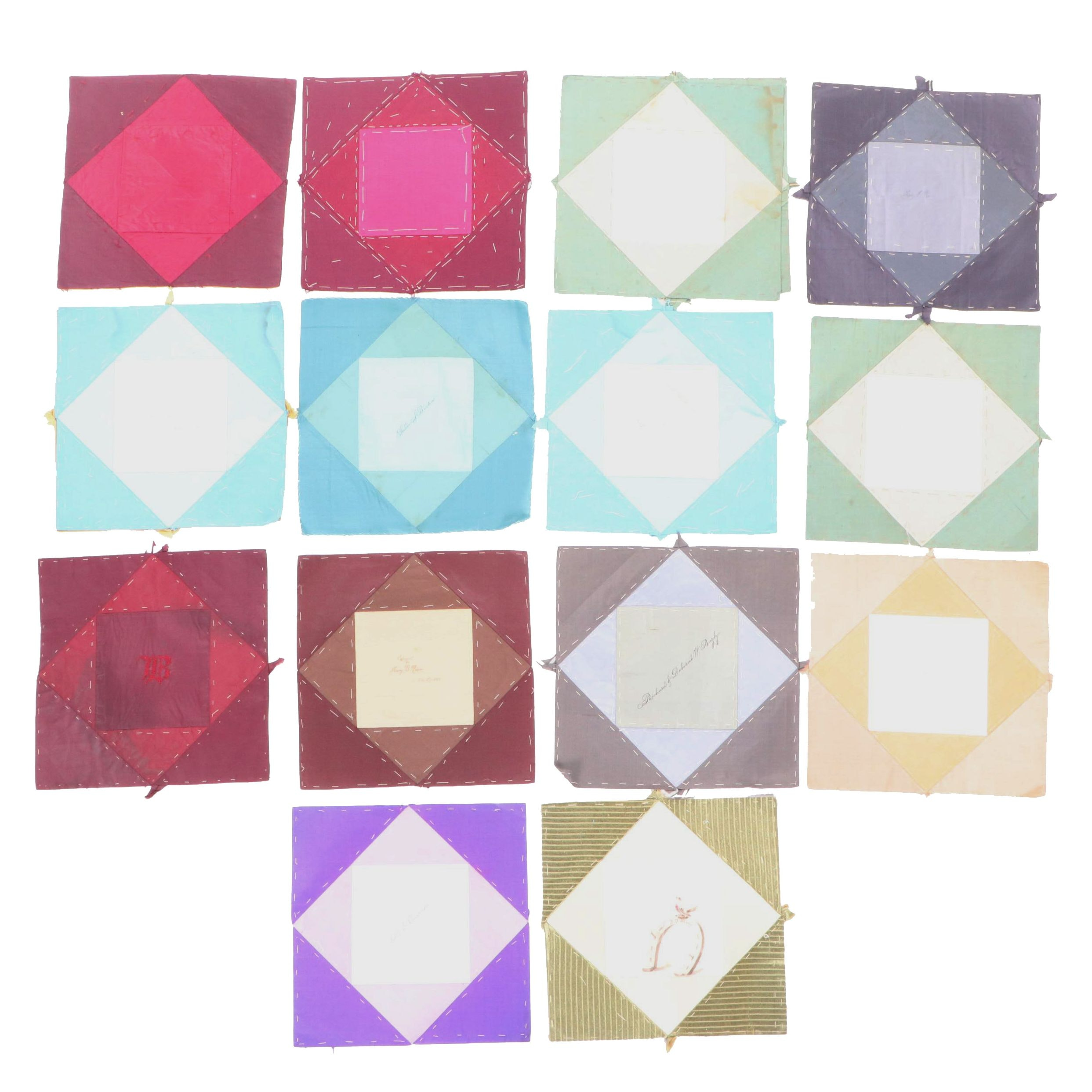 Friendship Quilt Squares with Letters, 19th Century
