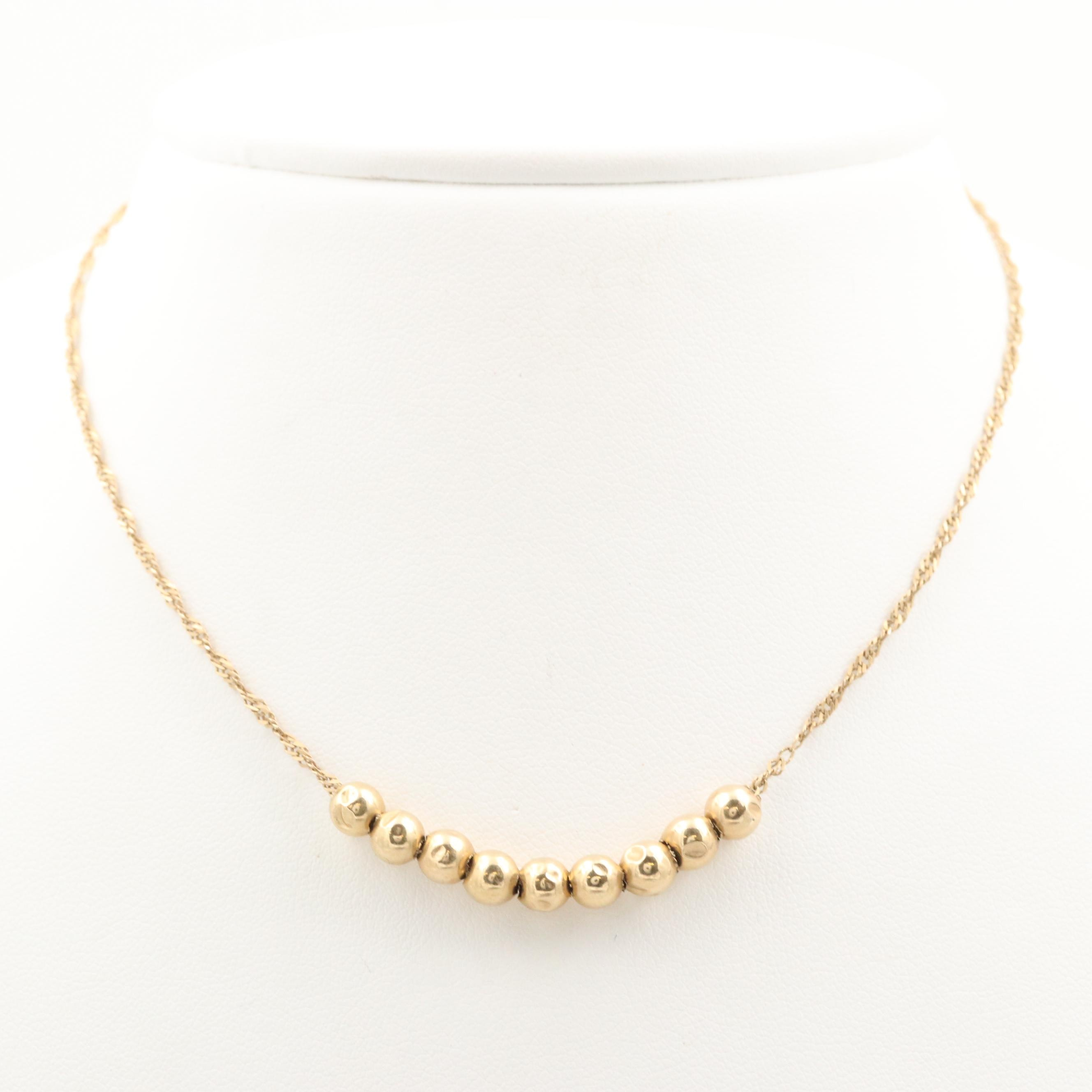 14K and 10K Yellow Gold Beaded Necklace