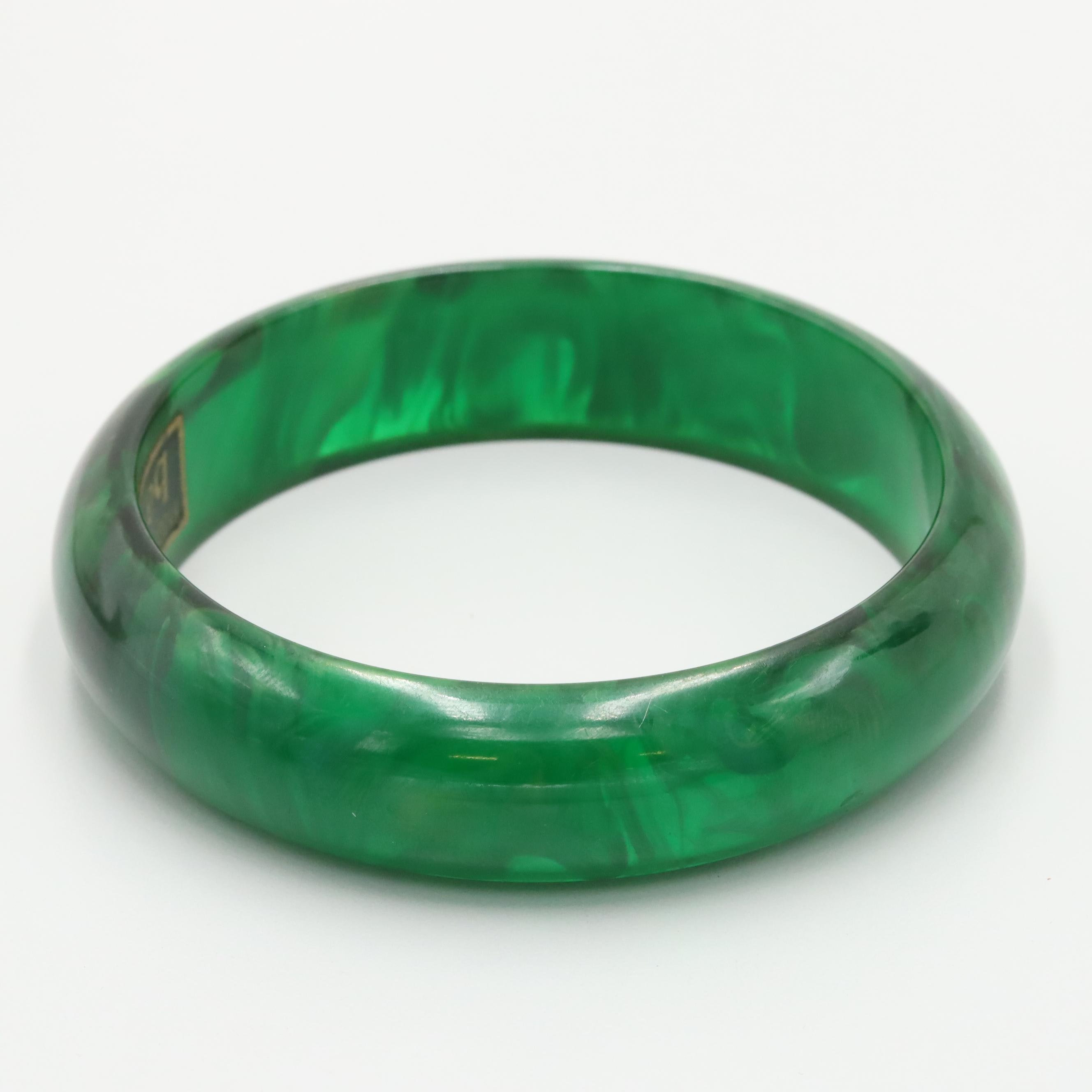 Baverel Green Marble Bakelite Bangle