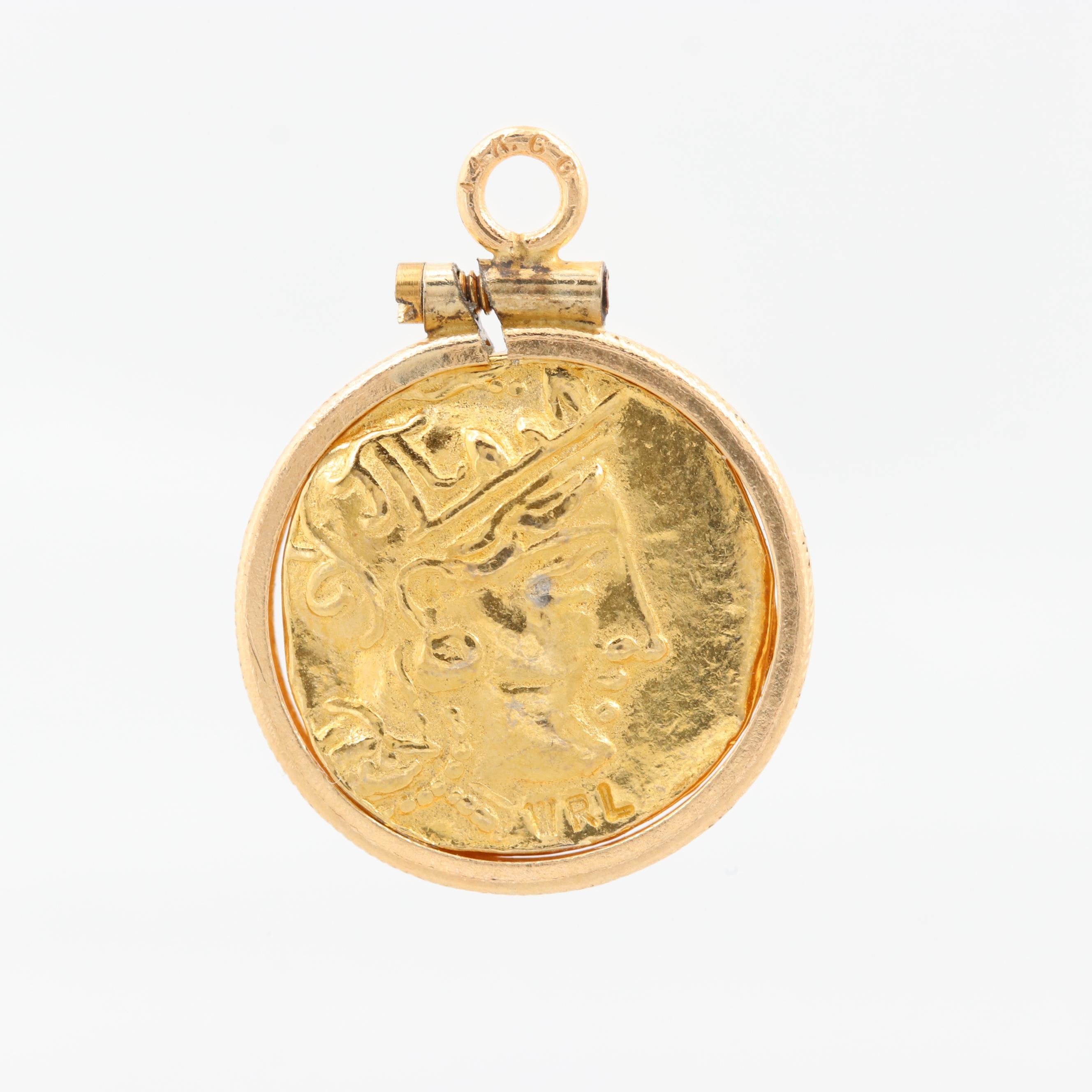 14K Yellow Gold Pendant with Reproduction Ancient Greek Athenian Drachma Coin