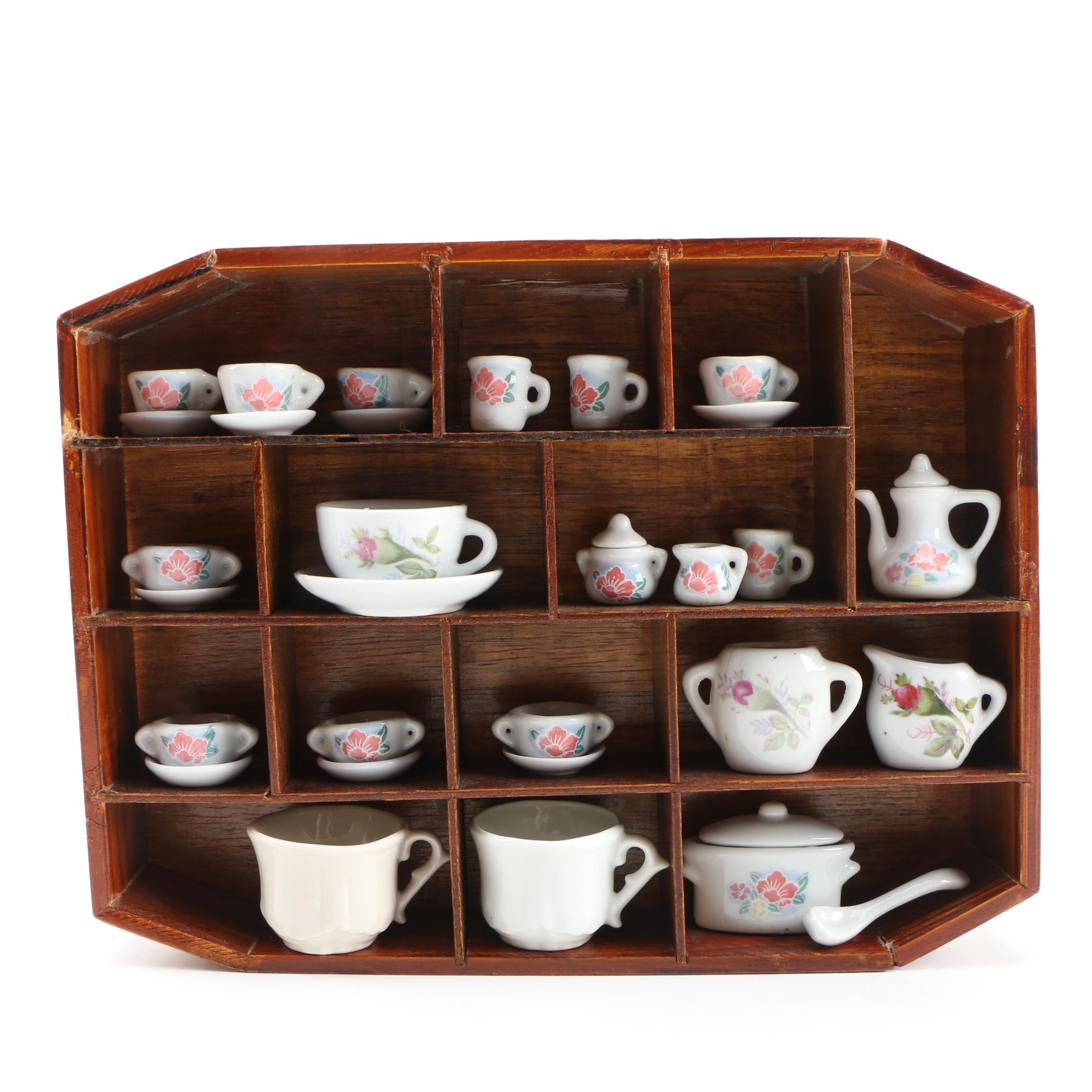 Miniature Ceramic Tea Set with Display Case