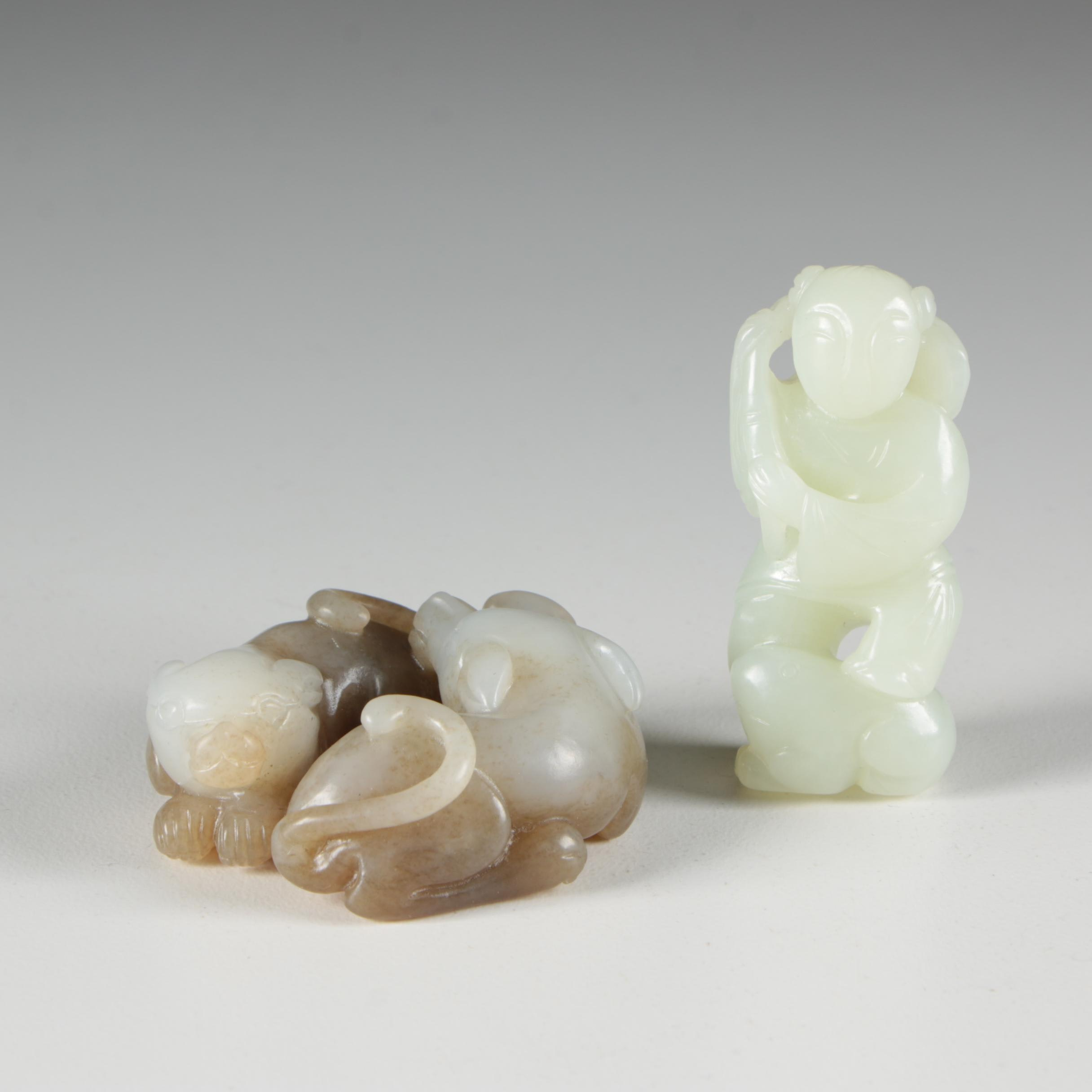Chinese Carved Nephrite Man and Dog Figurines