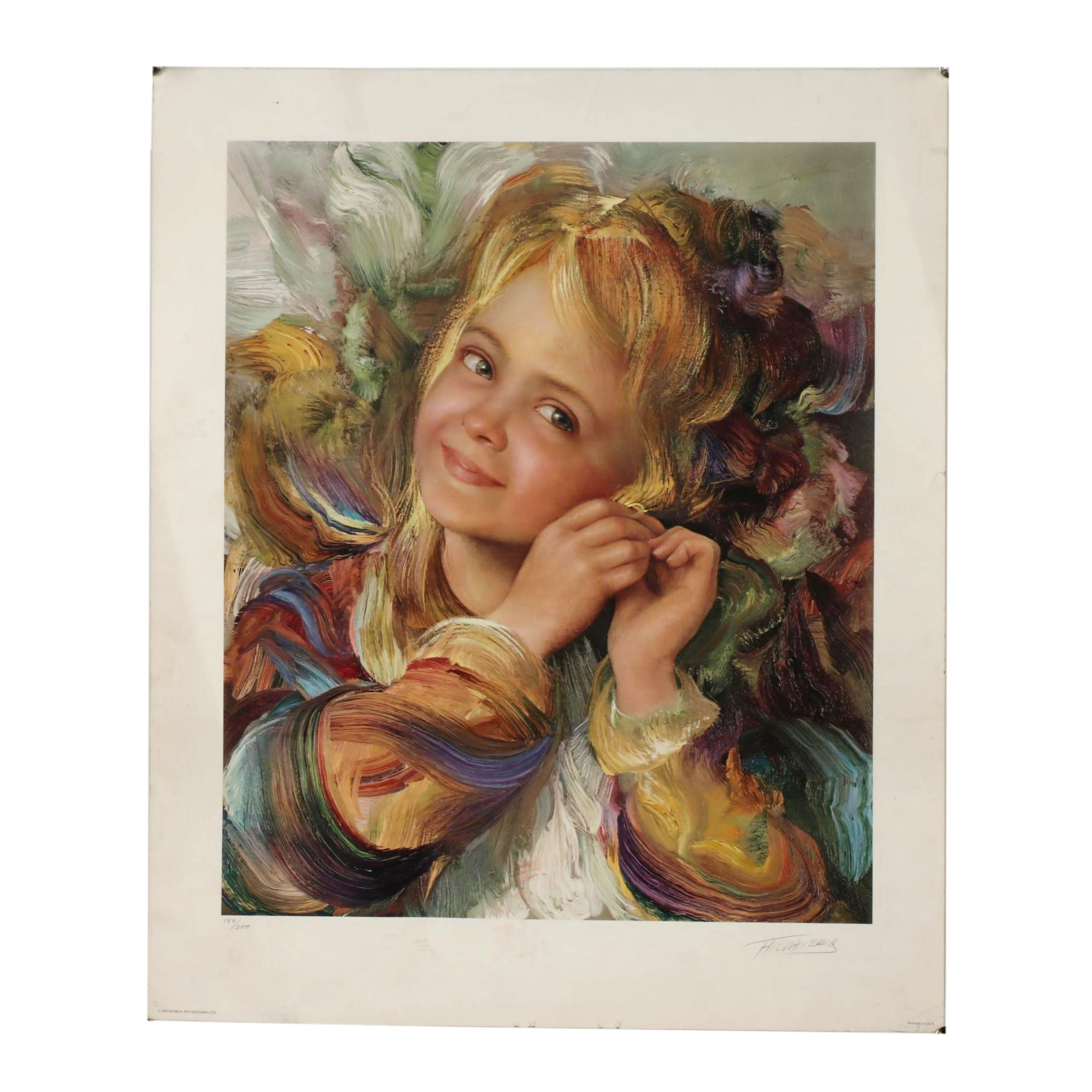 1982 Offset Lithograph of Girl Portrait