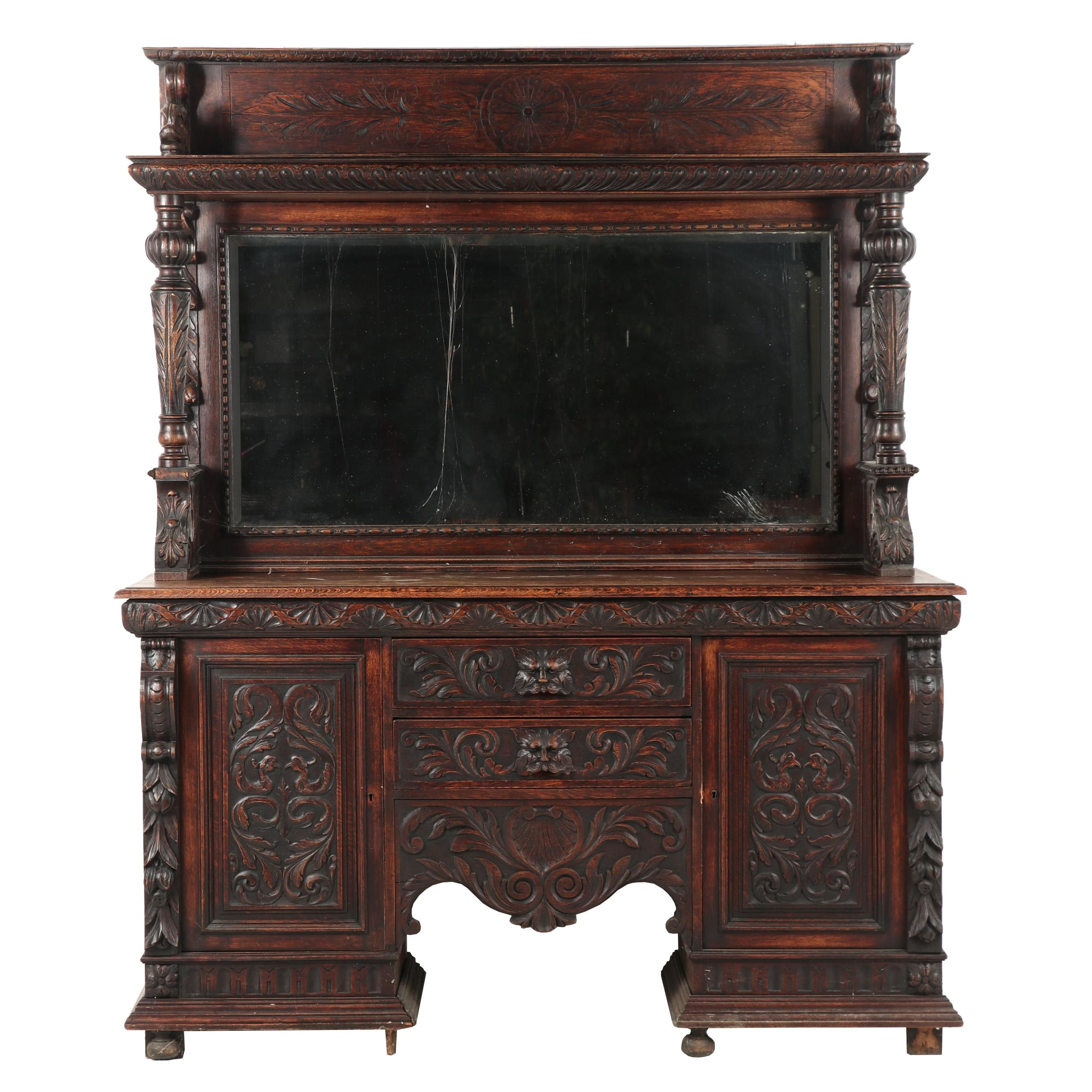 Renaissance Revival Carved English Oak Sideboard with Mirror, Late 19th Century