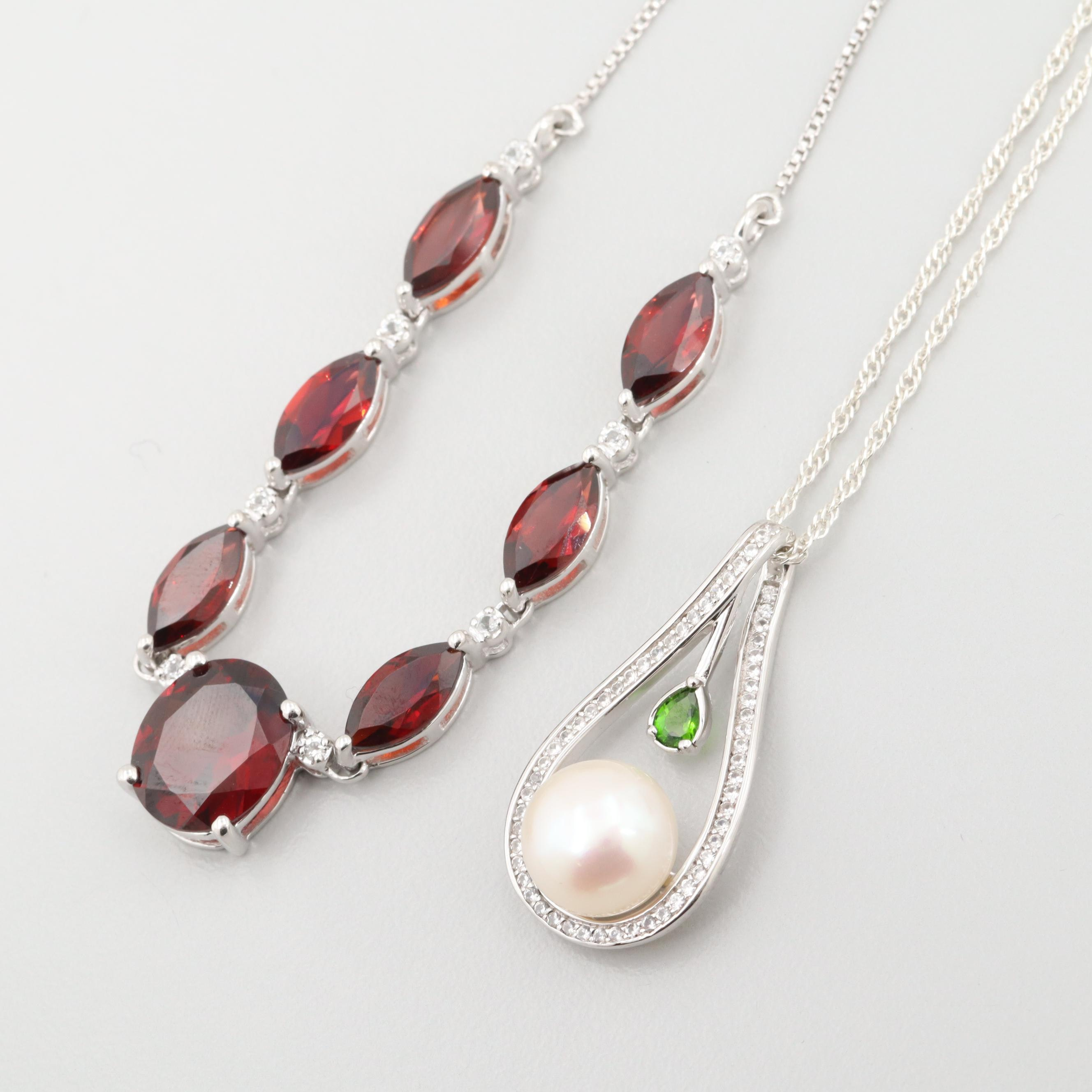 Sterling Silver Garnet, Cultured Pearl and Diopside Necklaces