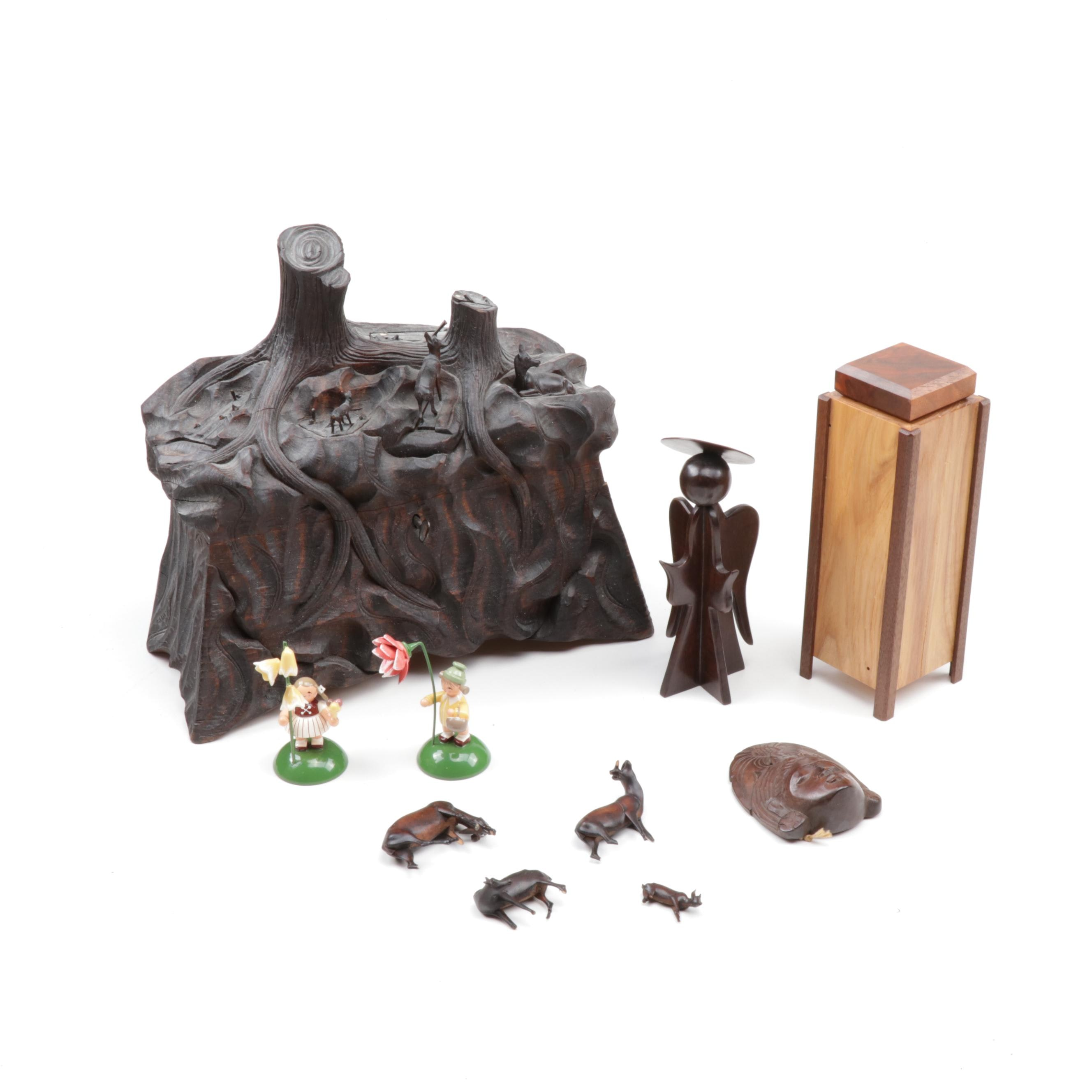 Carved Wood Containers and Figurines