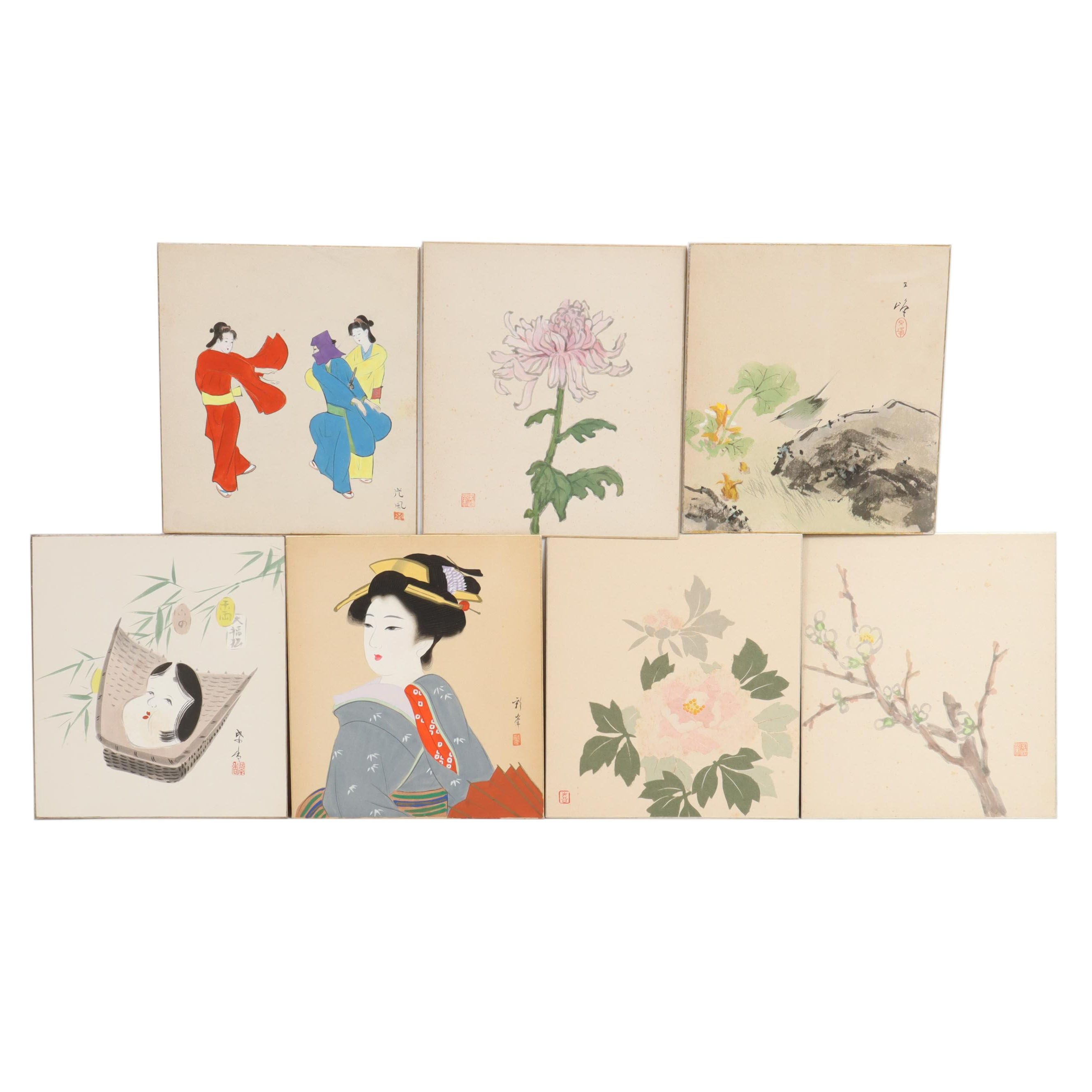 Japanese Watercolor and Gouache Paintings
