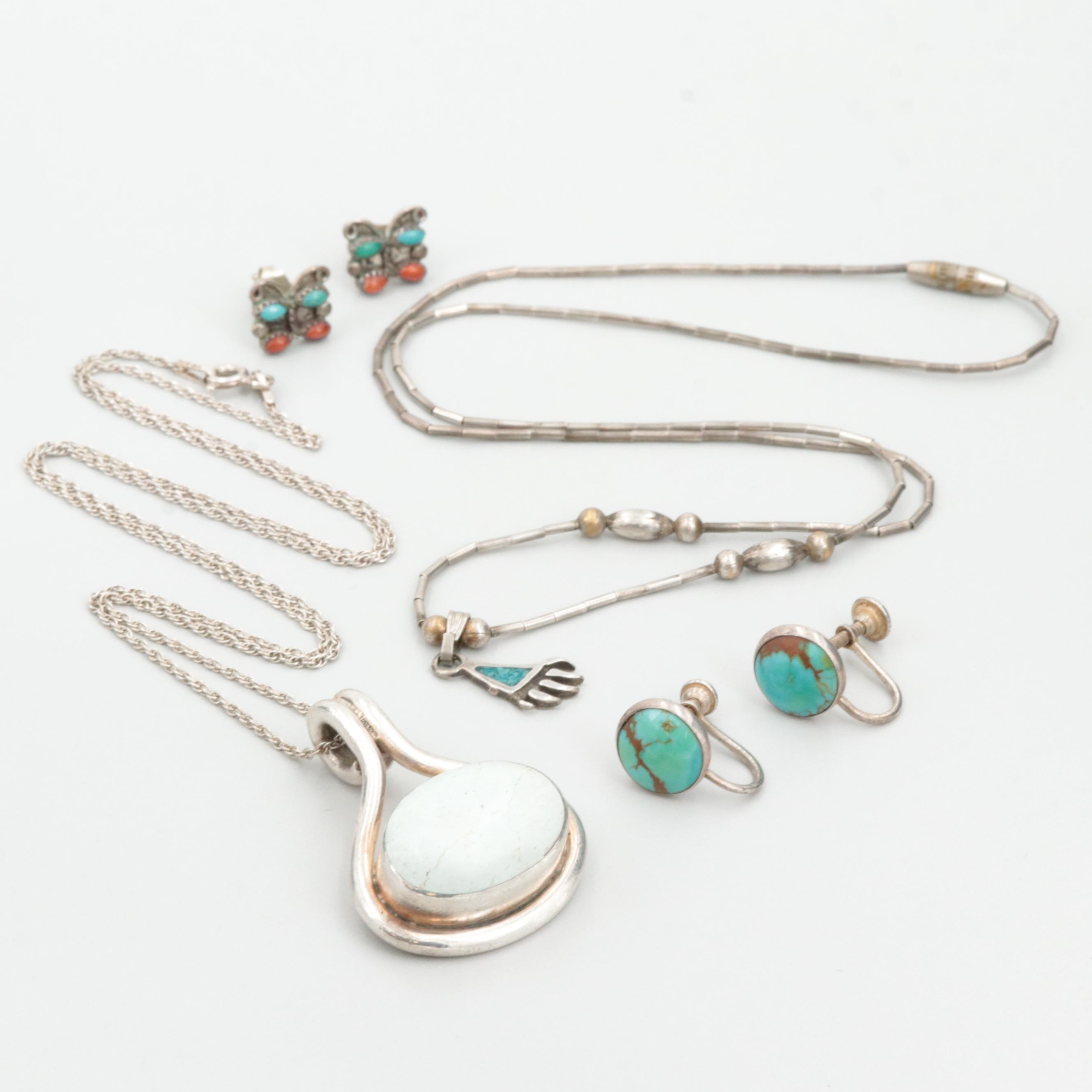 Southwestern Sterling Silver Assortment Including Turquoise and Coral Accents