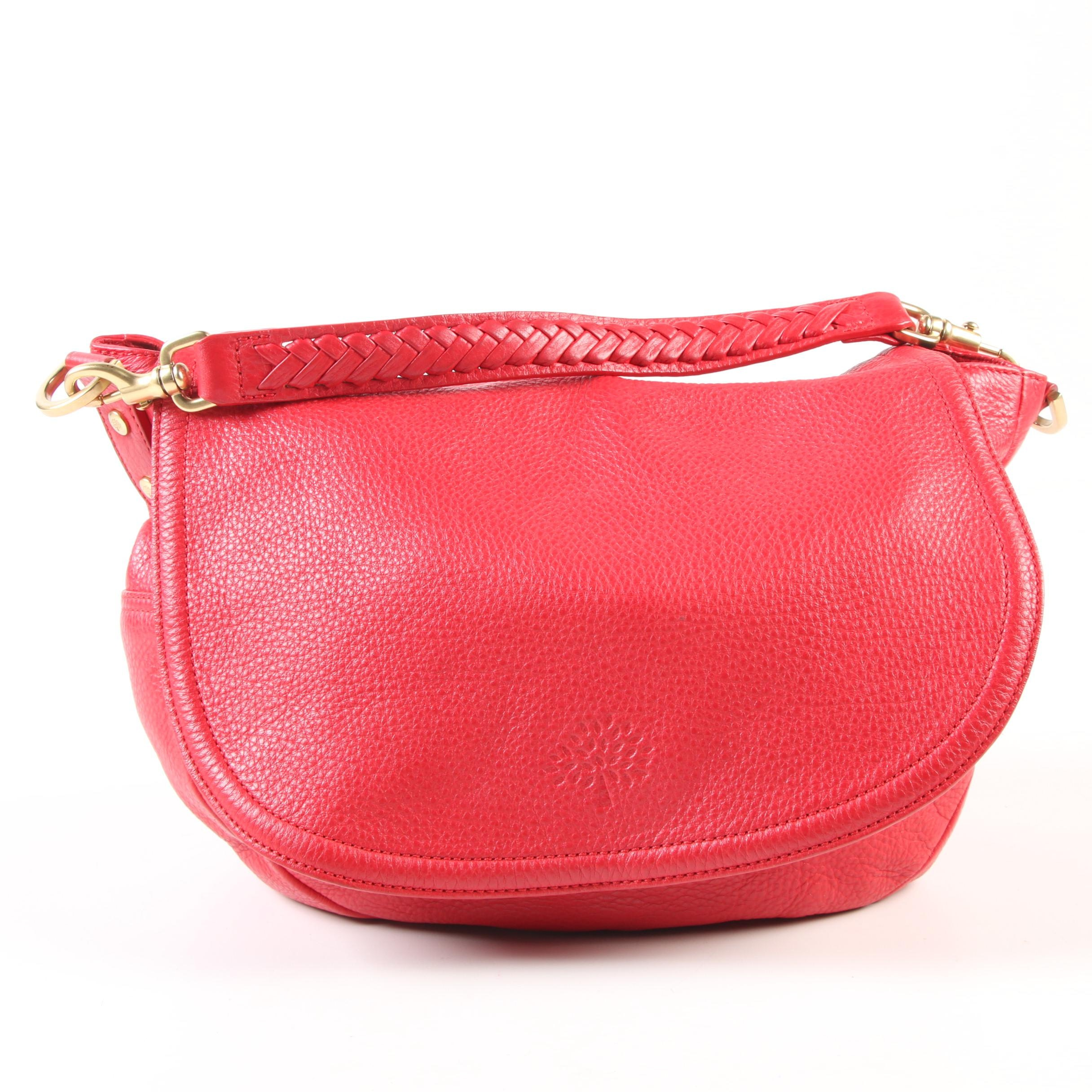 Mulberry Effie Large Satchel in Red Pebble Grain Leather with Woven Handle