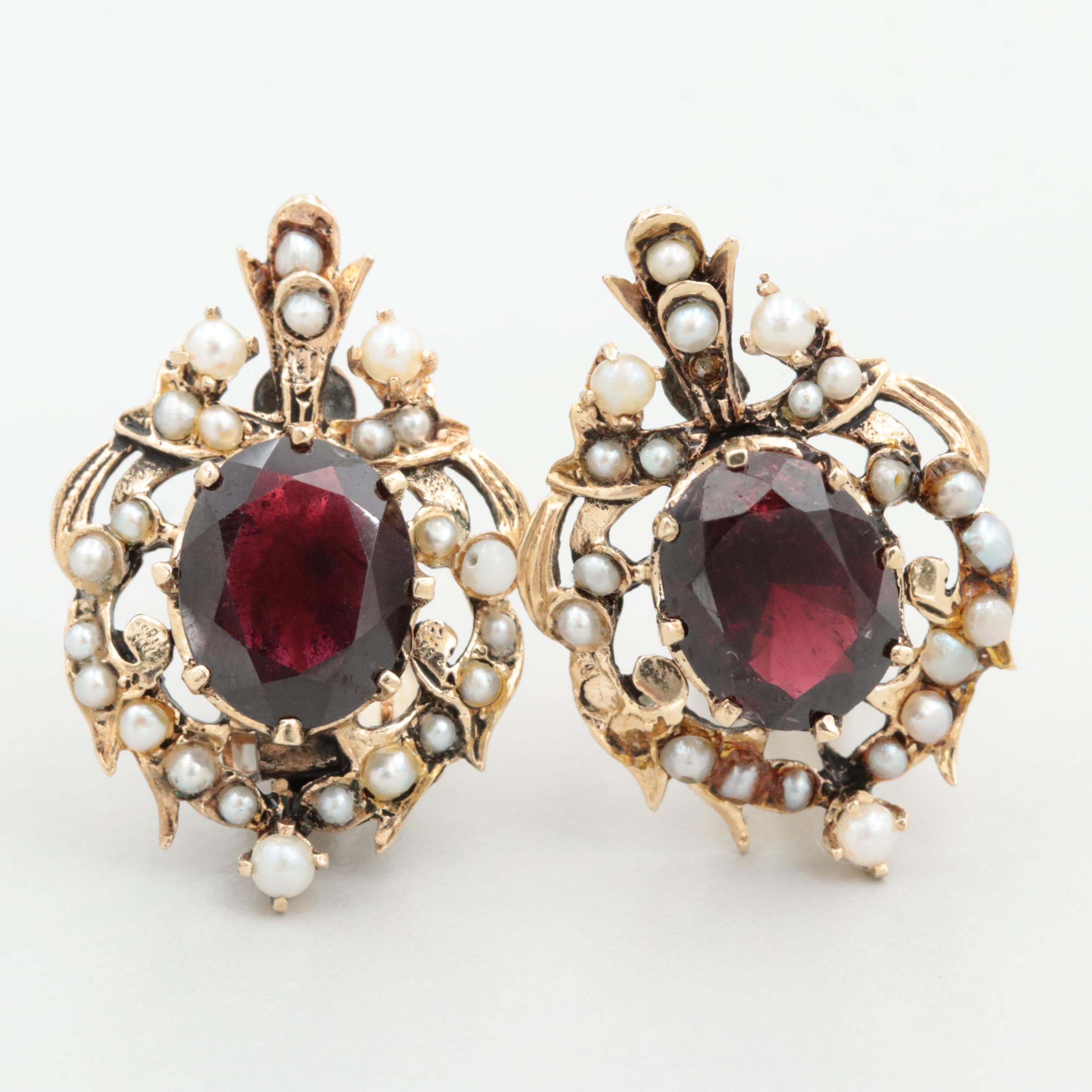 Vintage 14K Yellow Gold Garnet and Cultured Pearl Earrings