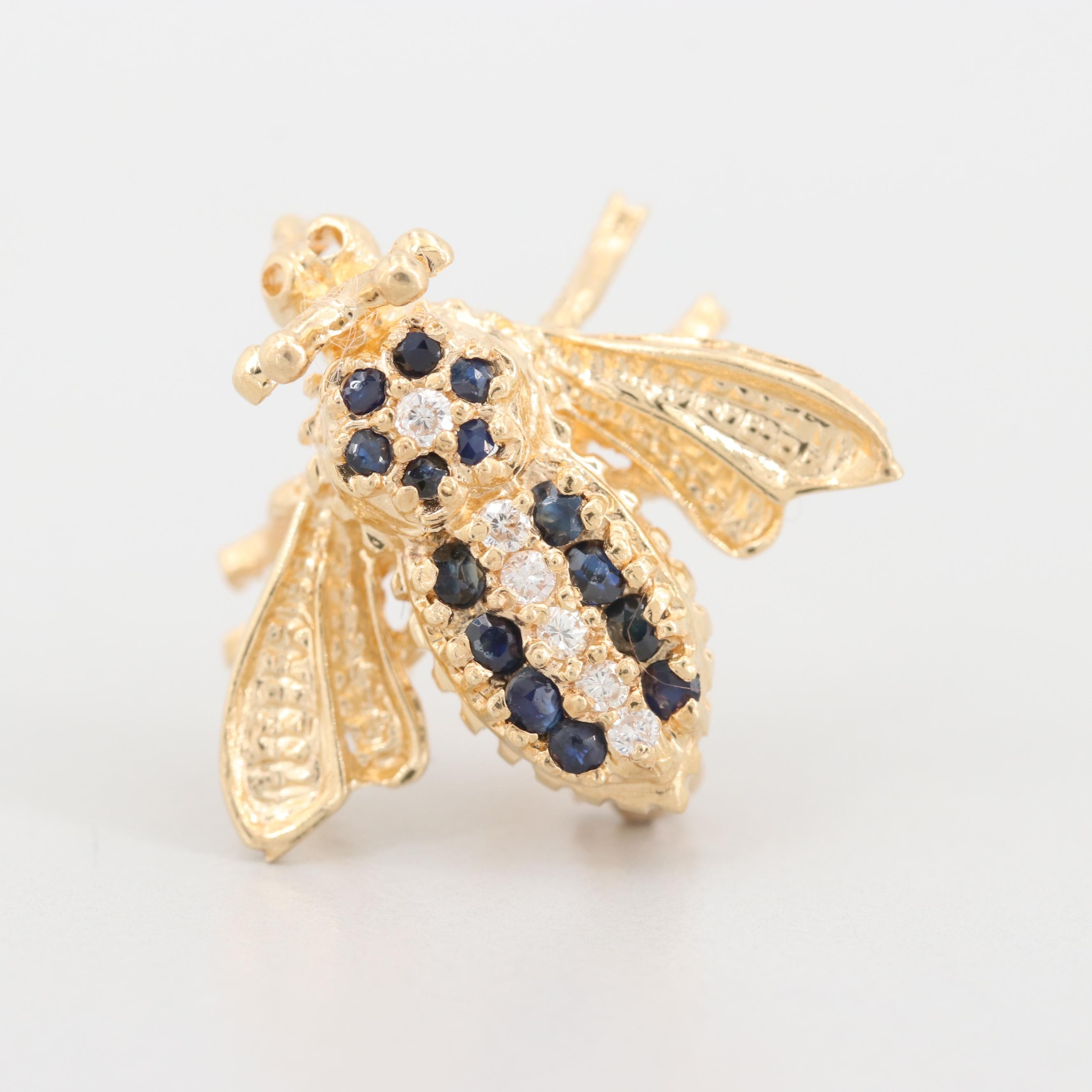 14K Yellow Gold Diamond and Sapphire Insect Brooch