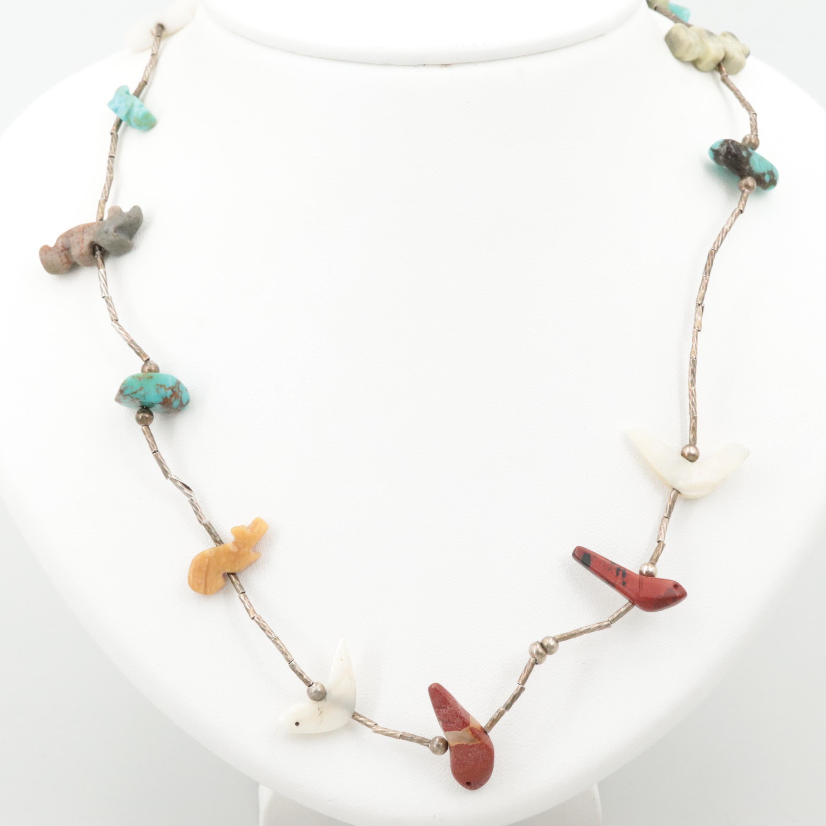 Southwestern Silver Tone Turquoise, Jasper and Mother of Pearl Fetish Necklace