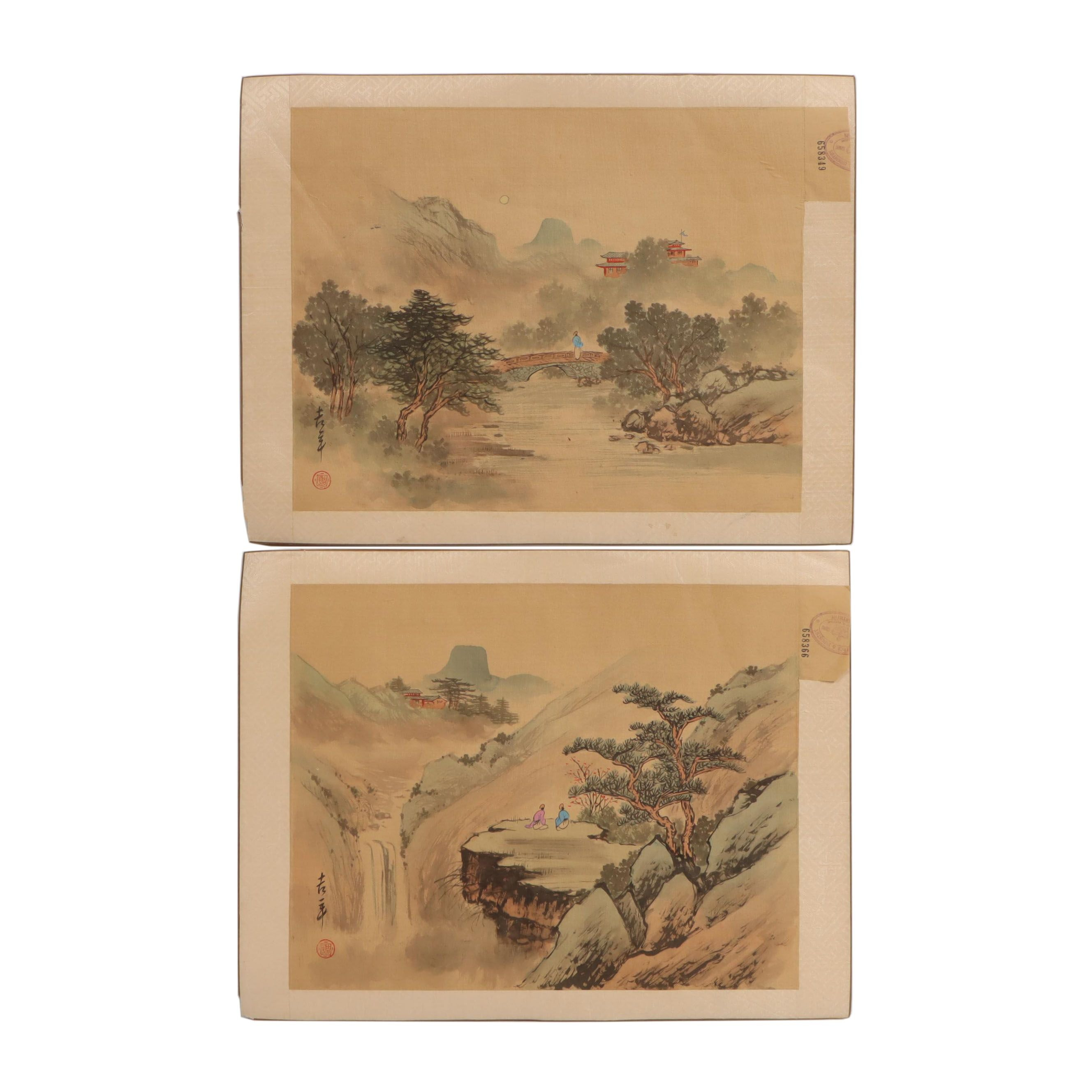 Chinese Mountain Landscape Gouache Paintings