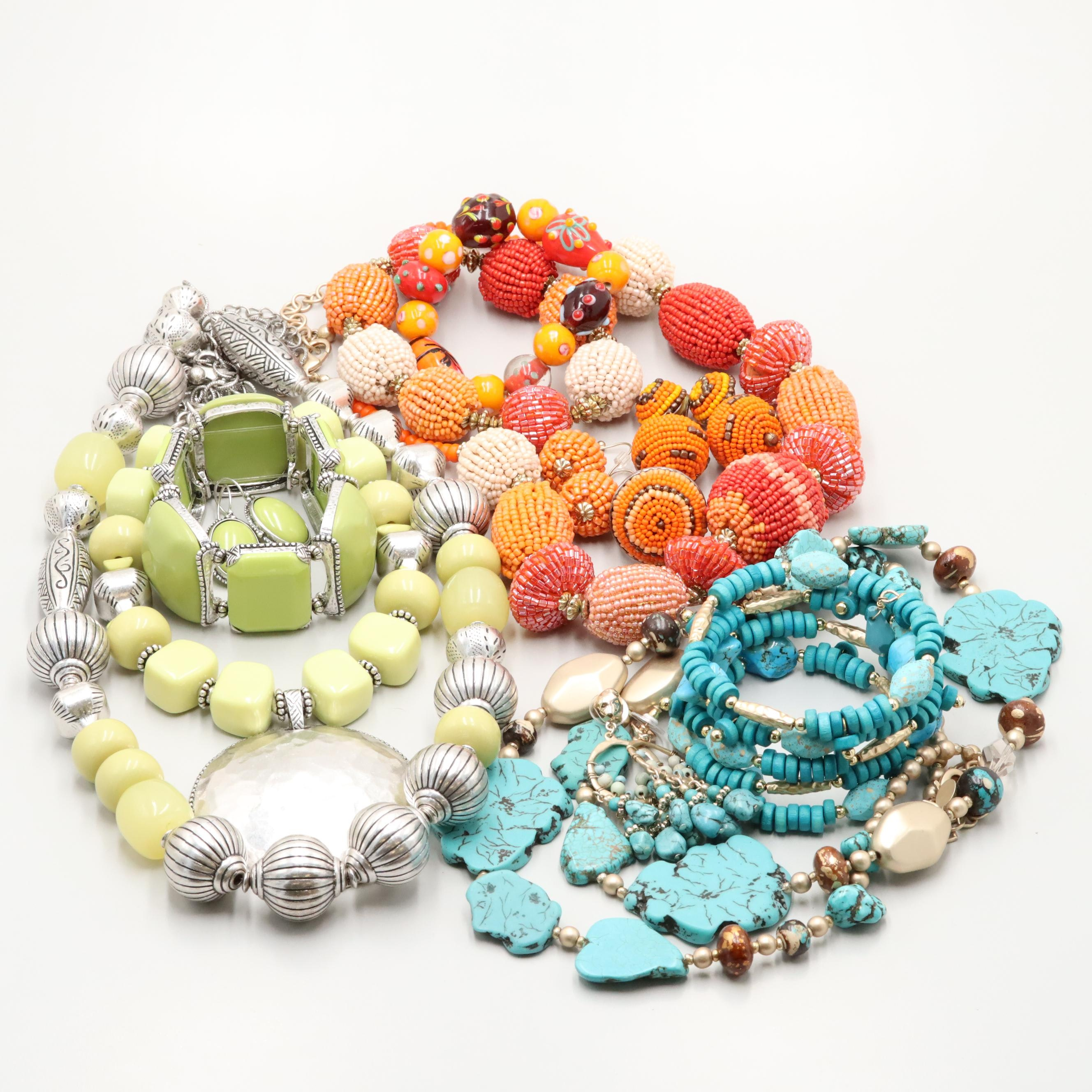 Assorted Chico's Magnesite,Glass and Wood Jewelry