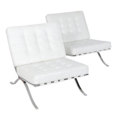 "Modernist Italian Tufted Leather ""Barcelona"" Style Lounge Chairs"