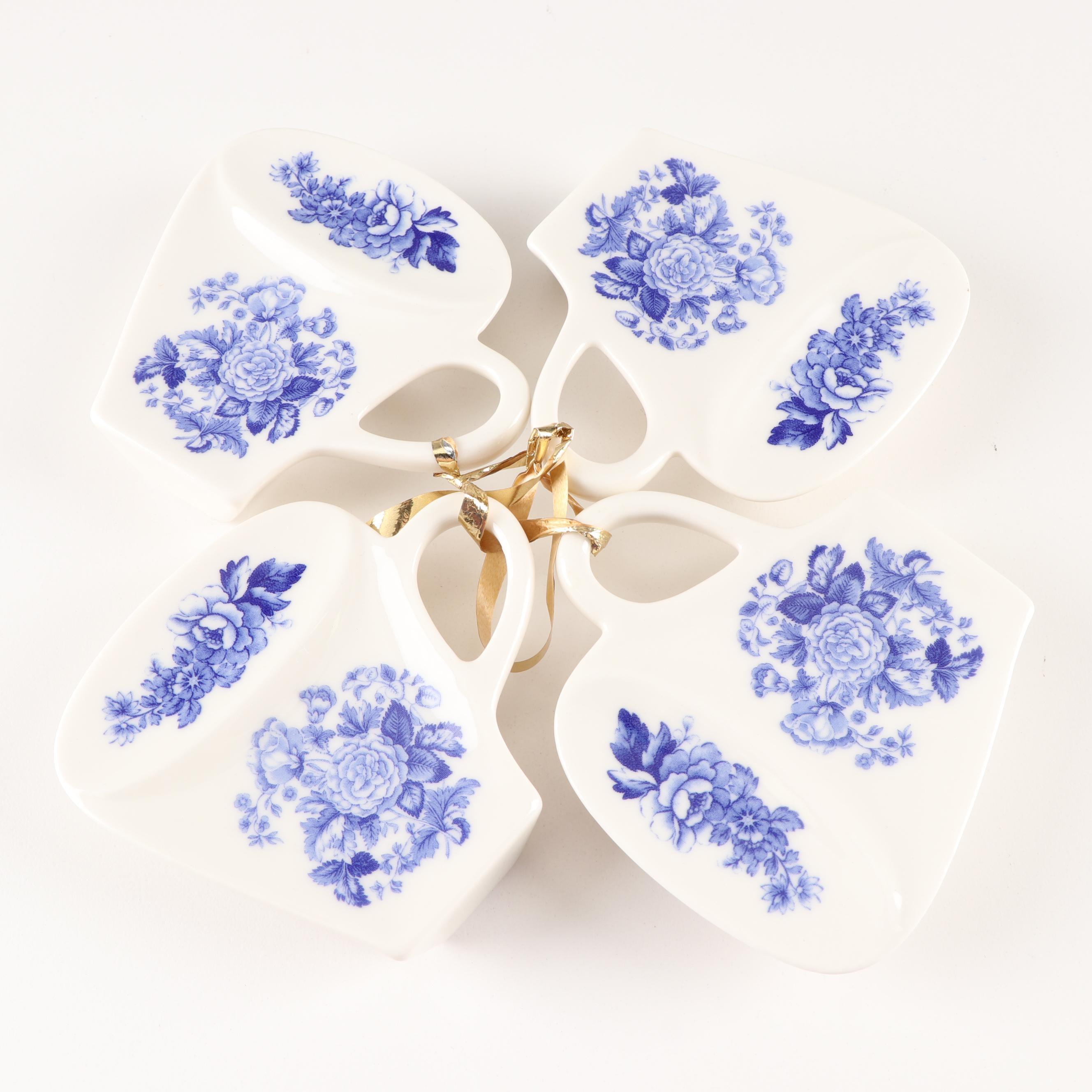 Spode Blue Room Collection Porcelain Tea Bag Rest Holder Grouping