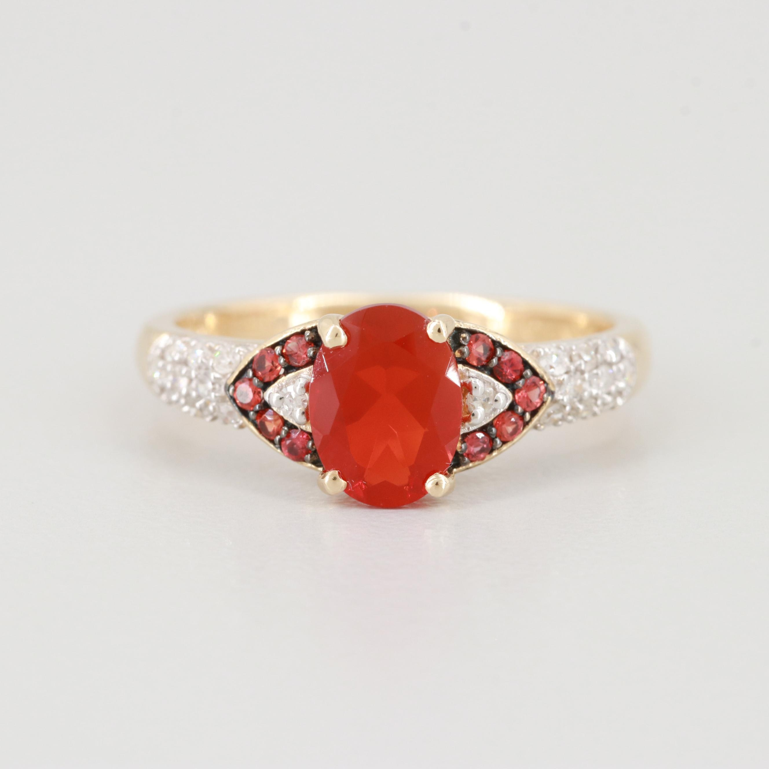 14K Yellow Gold Fire Opal, Diamond and Topaz Ring