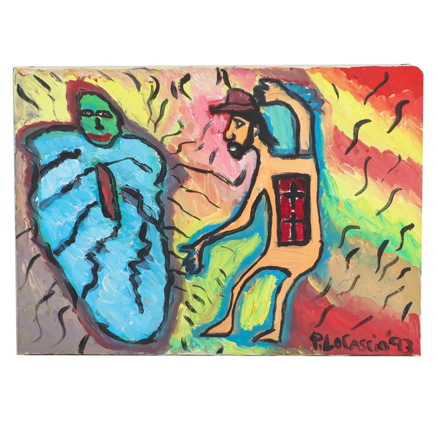 Peter LoCascio Abstract Figural Oil Painting