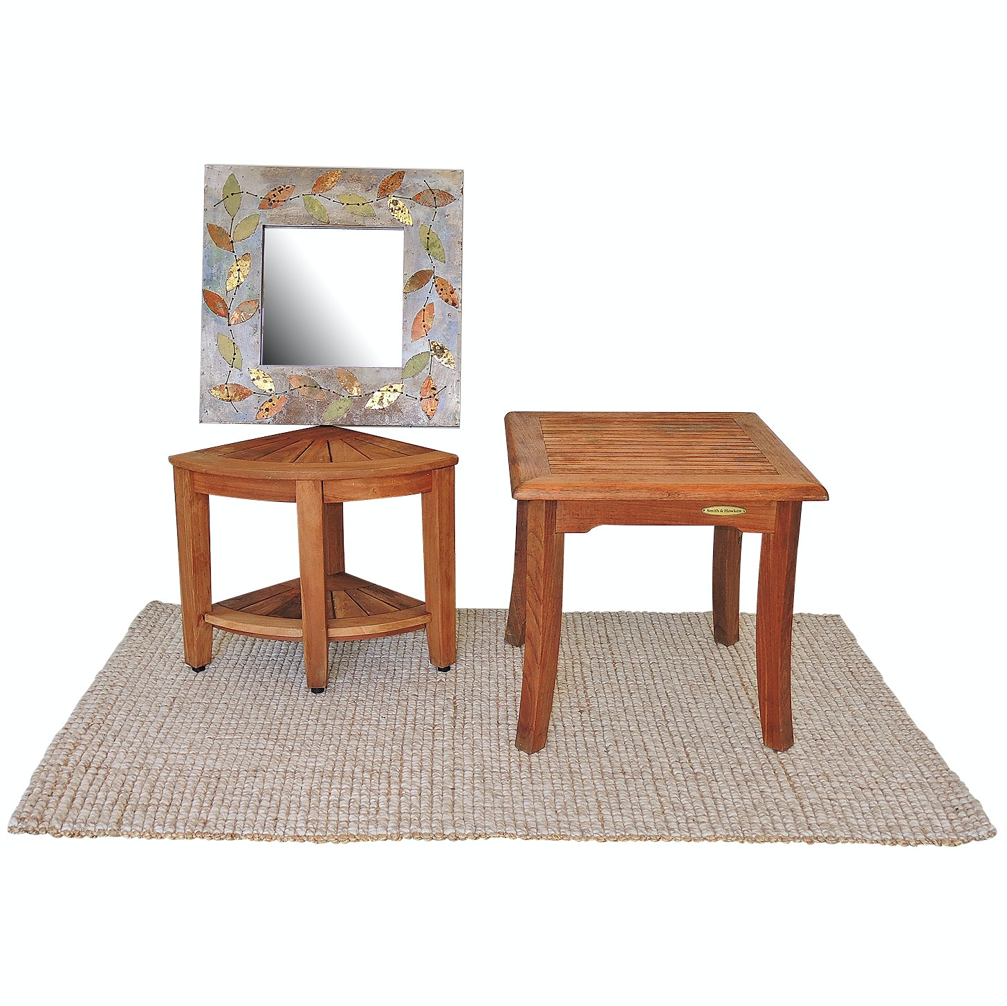 "Pottery Barn ""Chunky"" Rug with Smith and Hawken Stool and Metalwork Mirror"