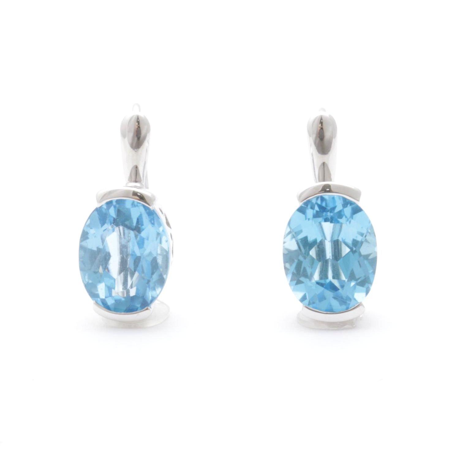 14K White Gold Blue Topaz Earrings