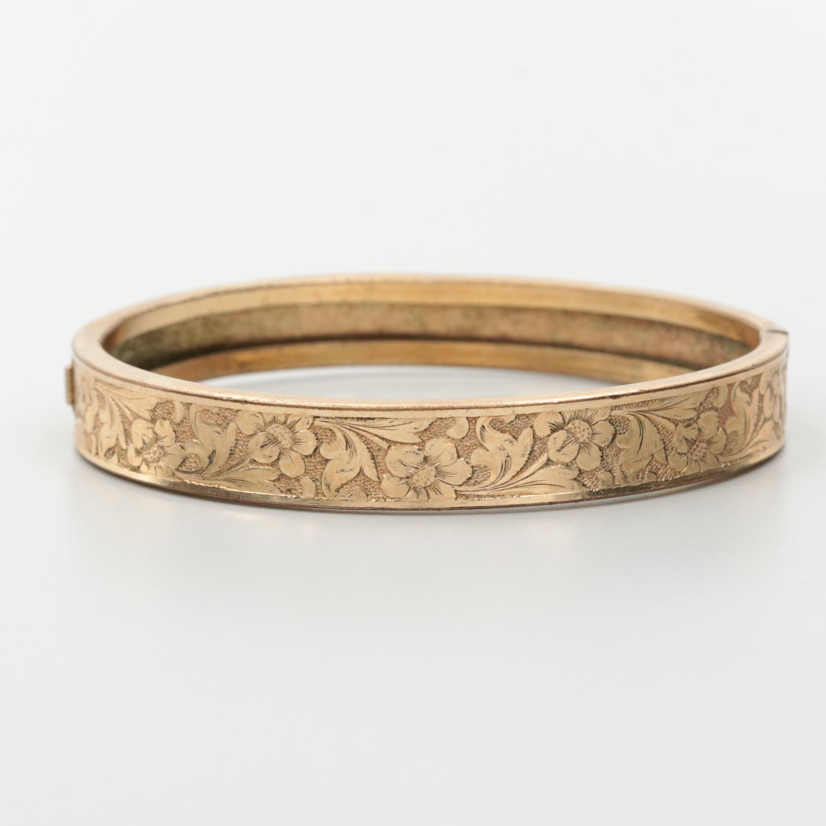 Gold Tone Hinged Bangle Bracelet