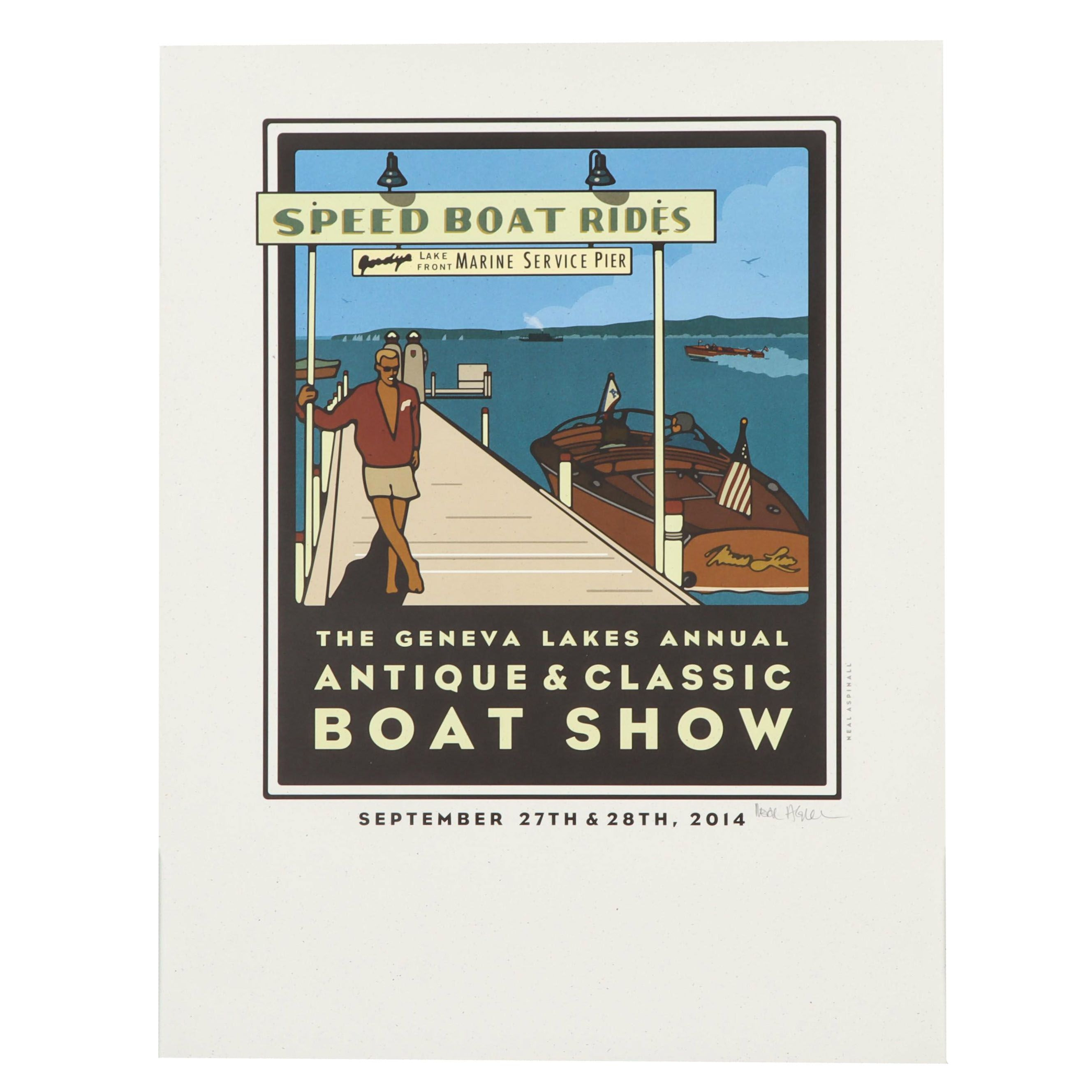 """Neal Aspinall Lithograph """"Lake Geneva Antique and Classic Boat Show"""""""