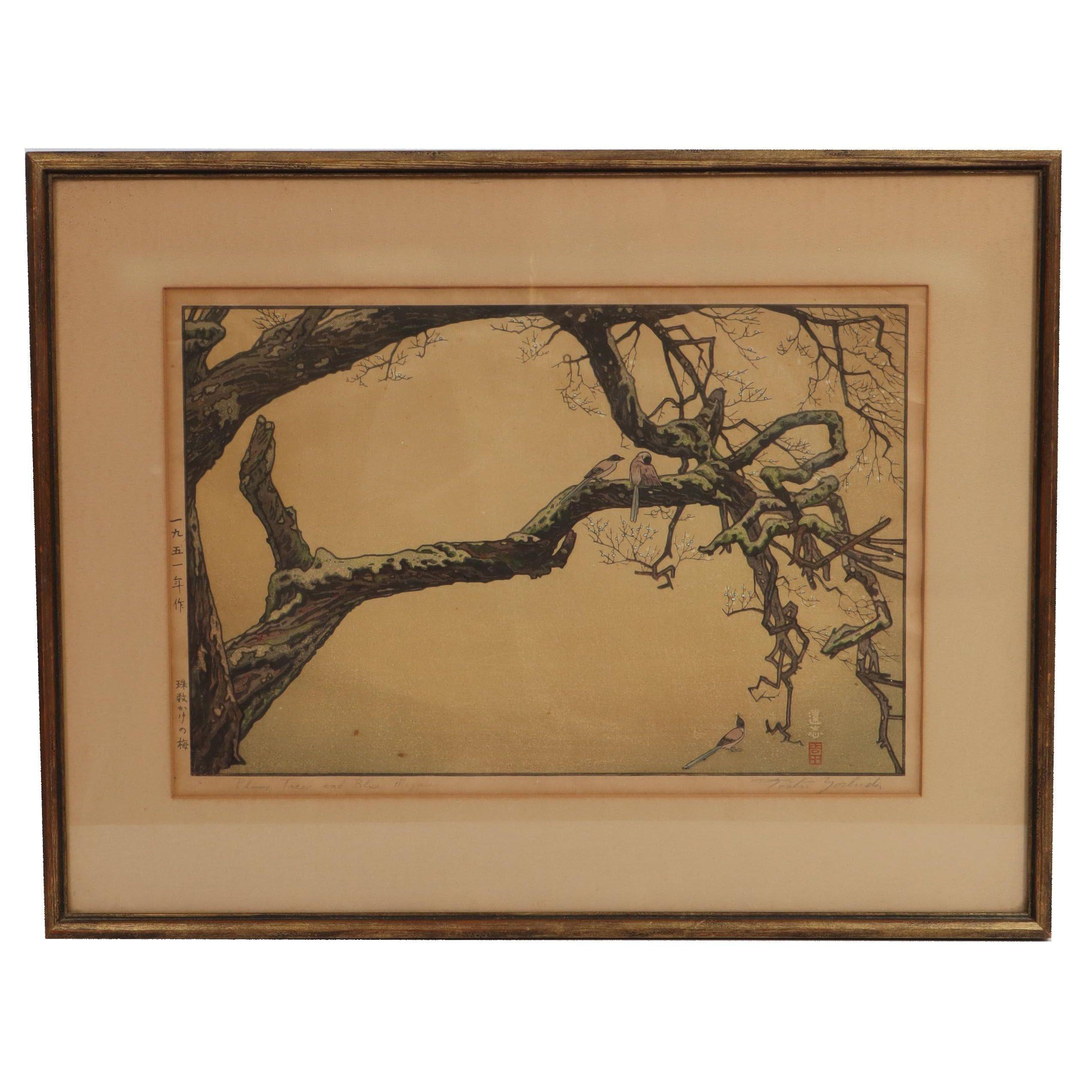 "Tōshi Yoshida Woodblock ""Plum Tree and Blue Magpie"""