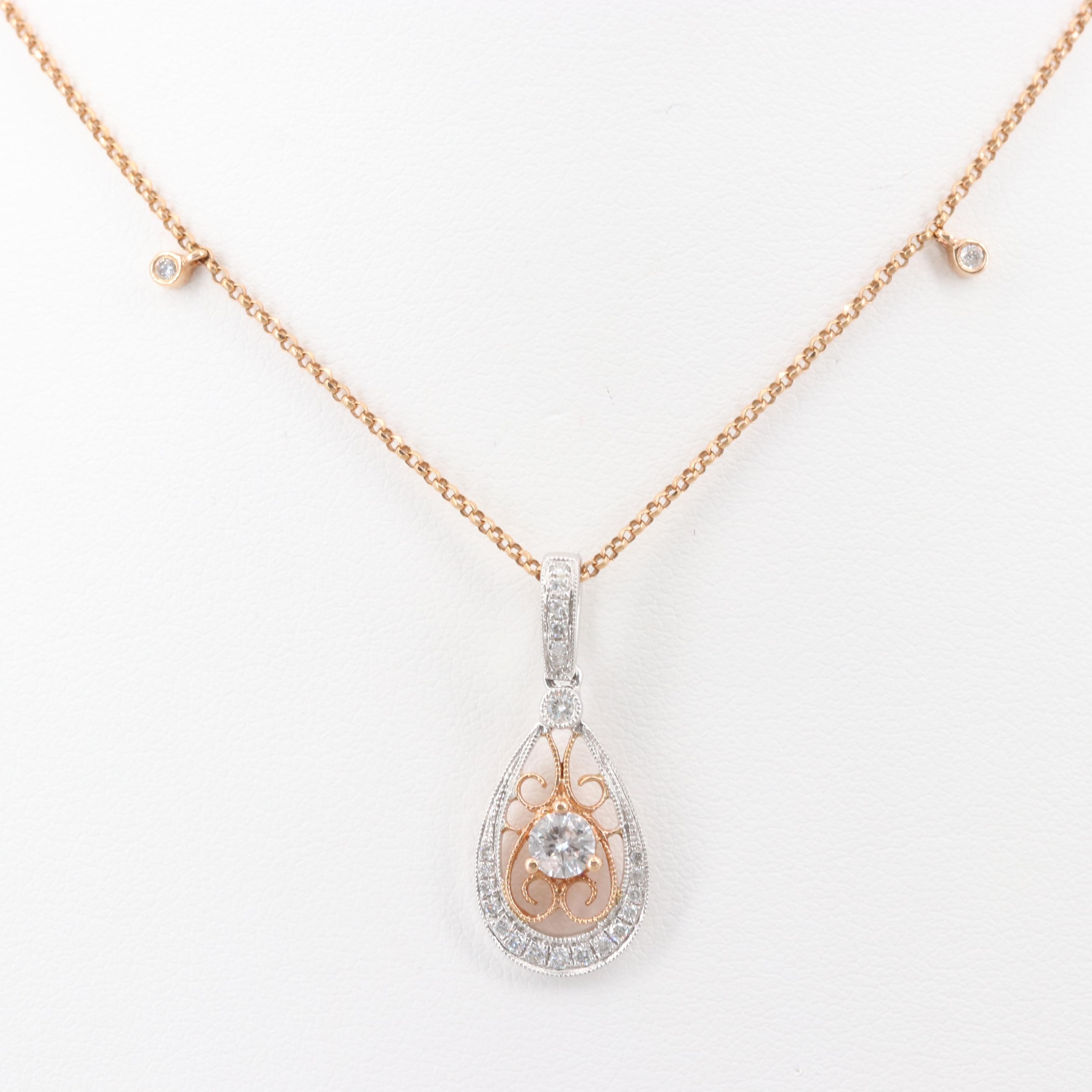 18K Rose and White Gold Diamond Pendant Necklace