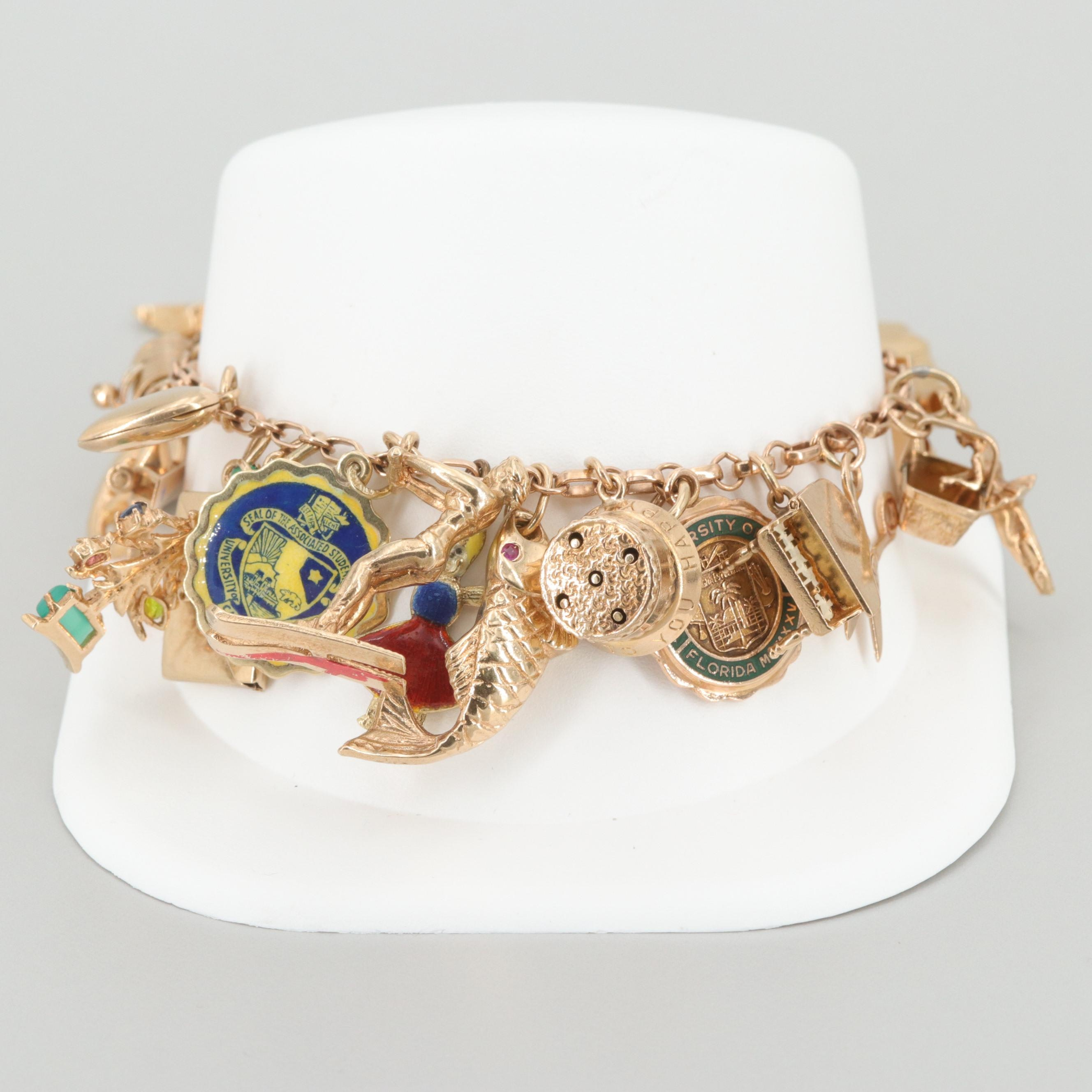 14K Yellow Gold Enamel and Glass Charm Bracelet with 10K and Articulated Charms