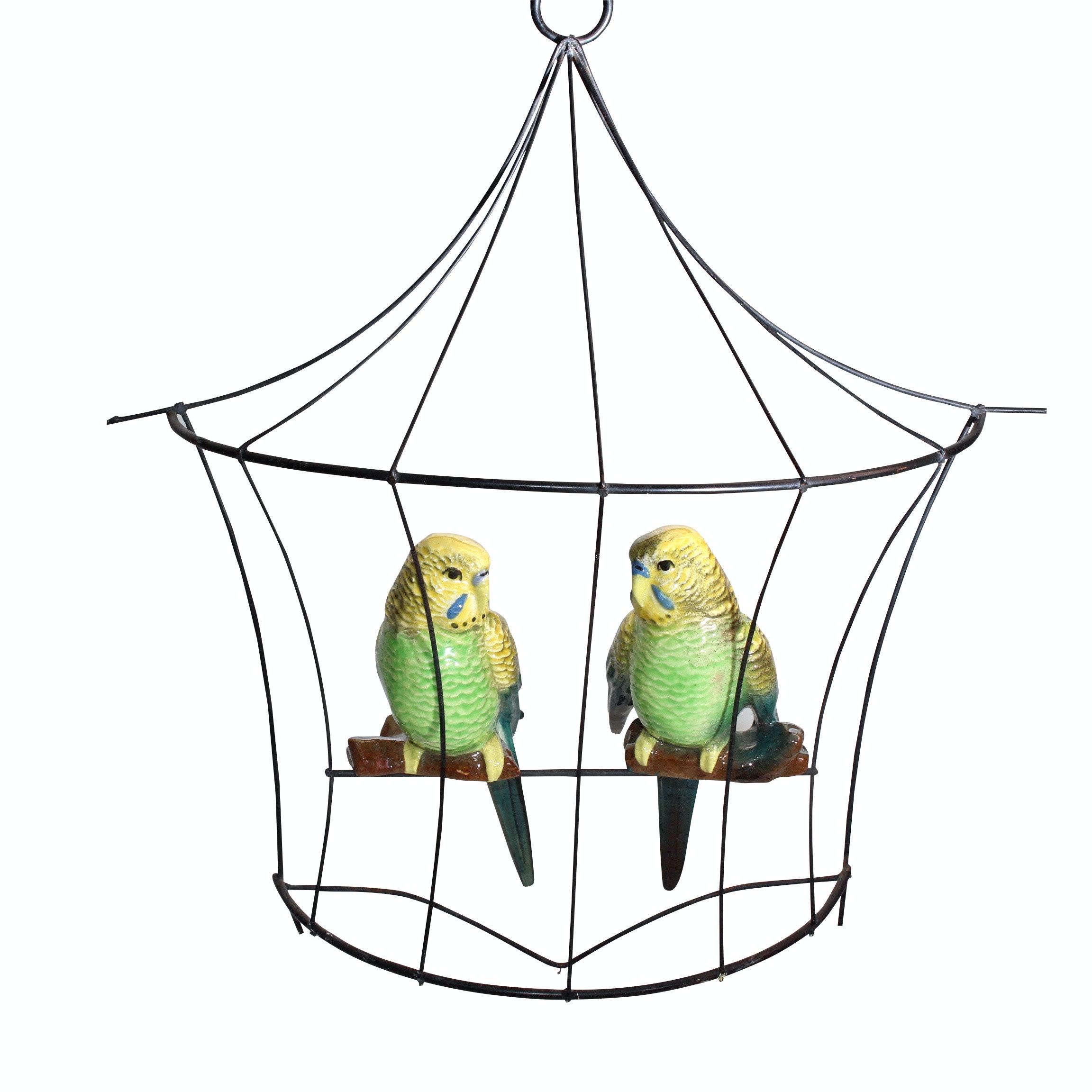 Ceramic Arts Studio Parrot Figurines in Mounted Cage