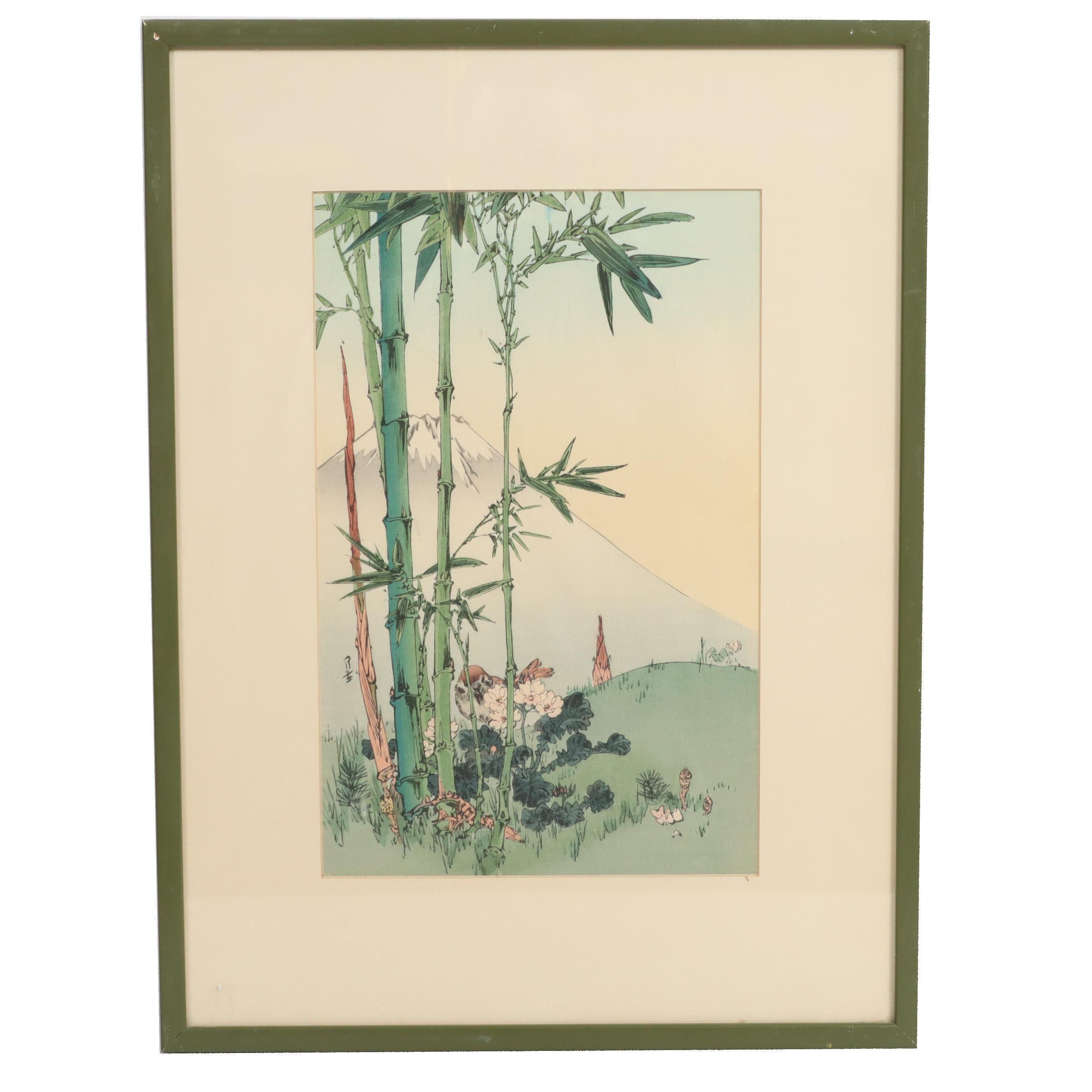 "Yoshimoto Gessō Woodblock ""Sparrow, Bamboo, and Mt. Fuji"""