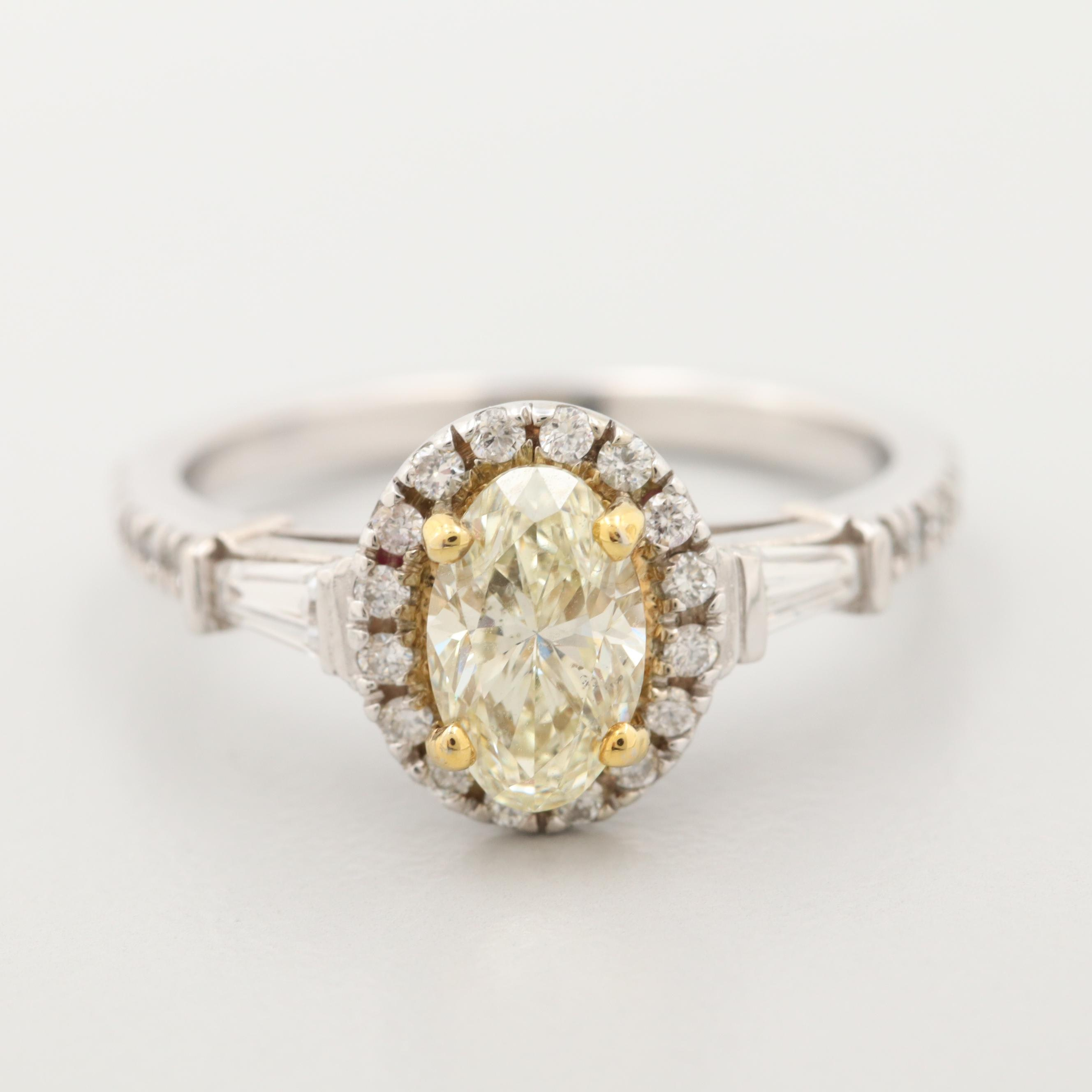 14K White Gold 1.48 CTW Diamond Ring with Yellow Gold Accent