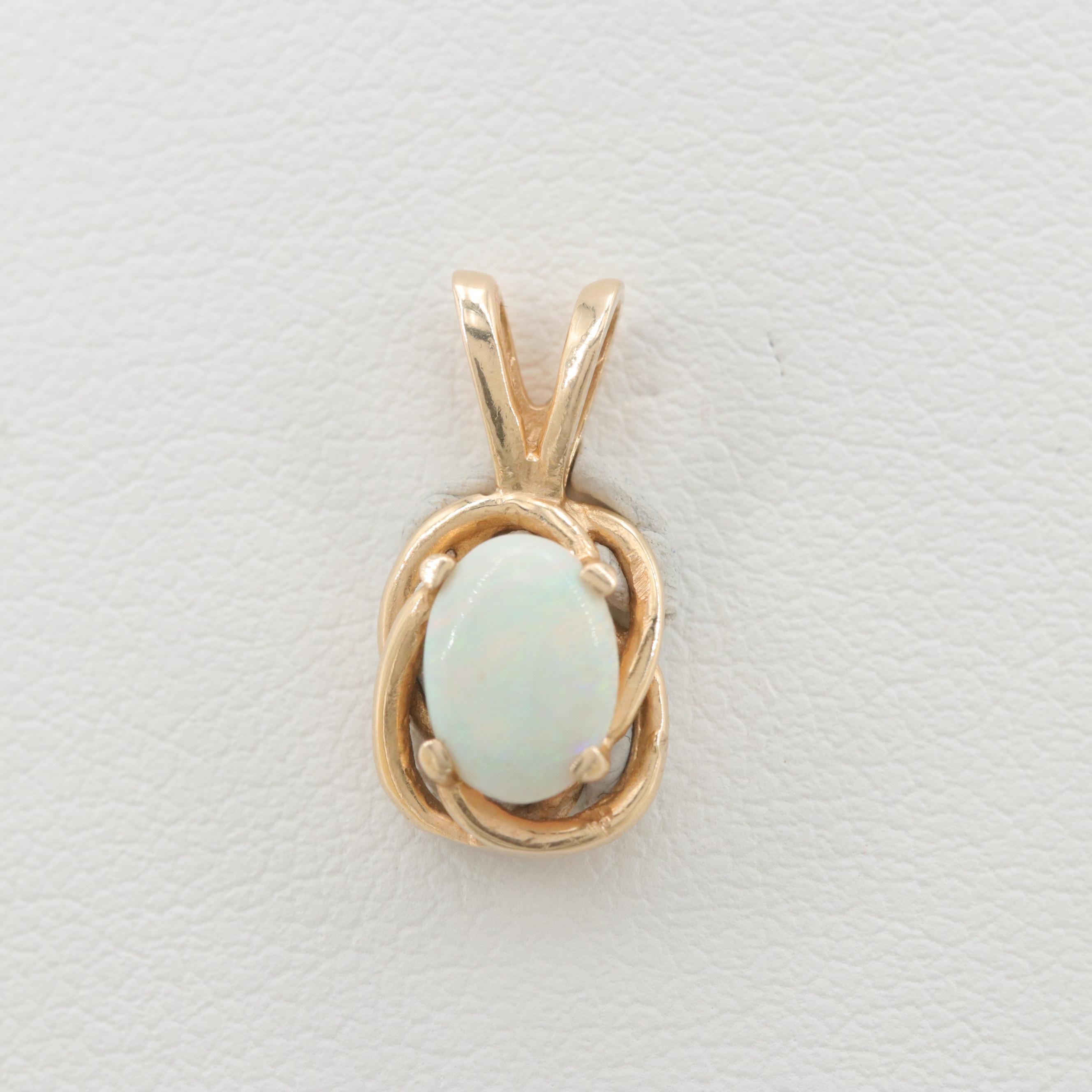 14K Yellow Gold Opal Pendant